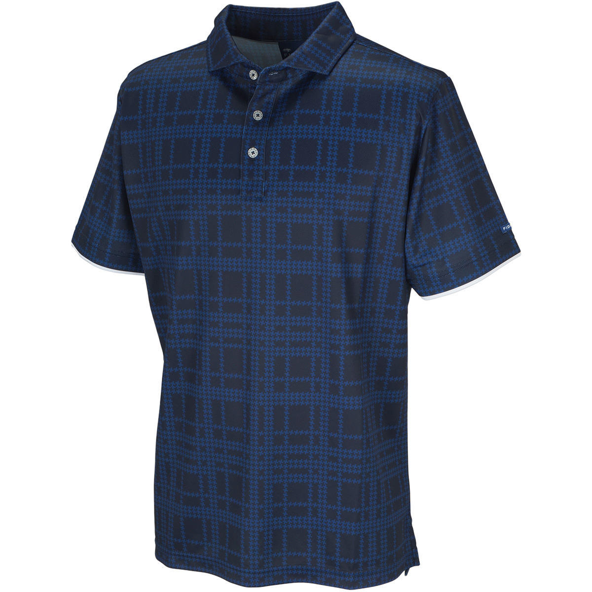 変形千鳥プリント 半袖ポロシャツ