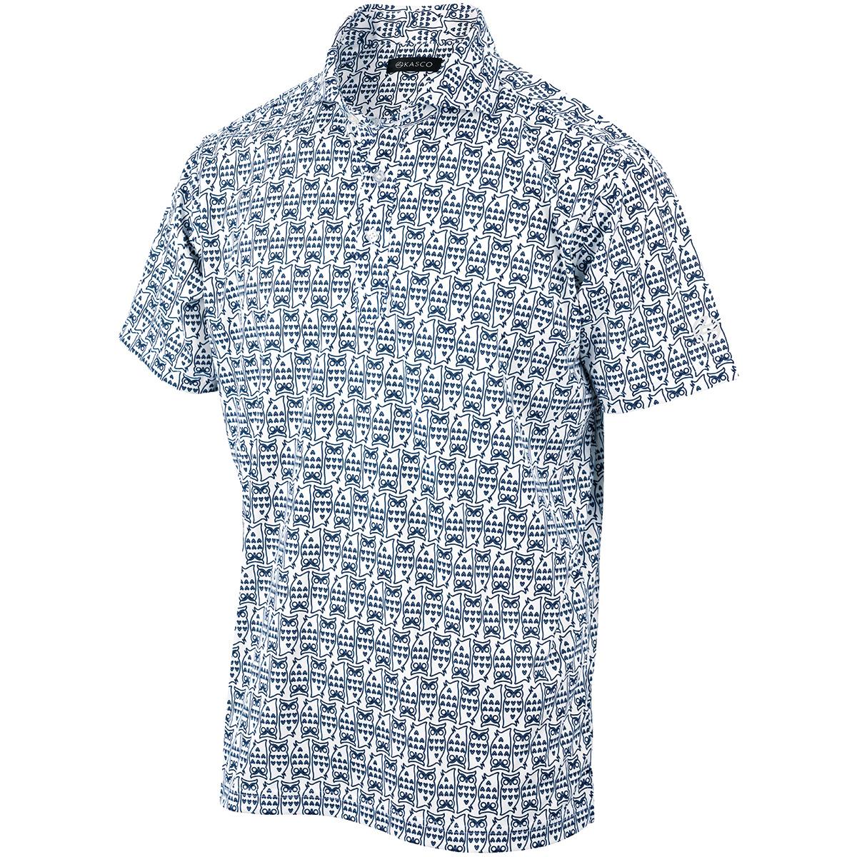 フクロウ総柄プリント 半袖ポロシャツ