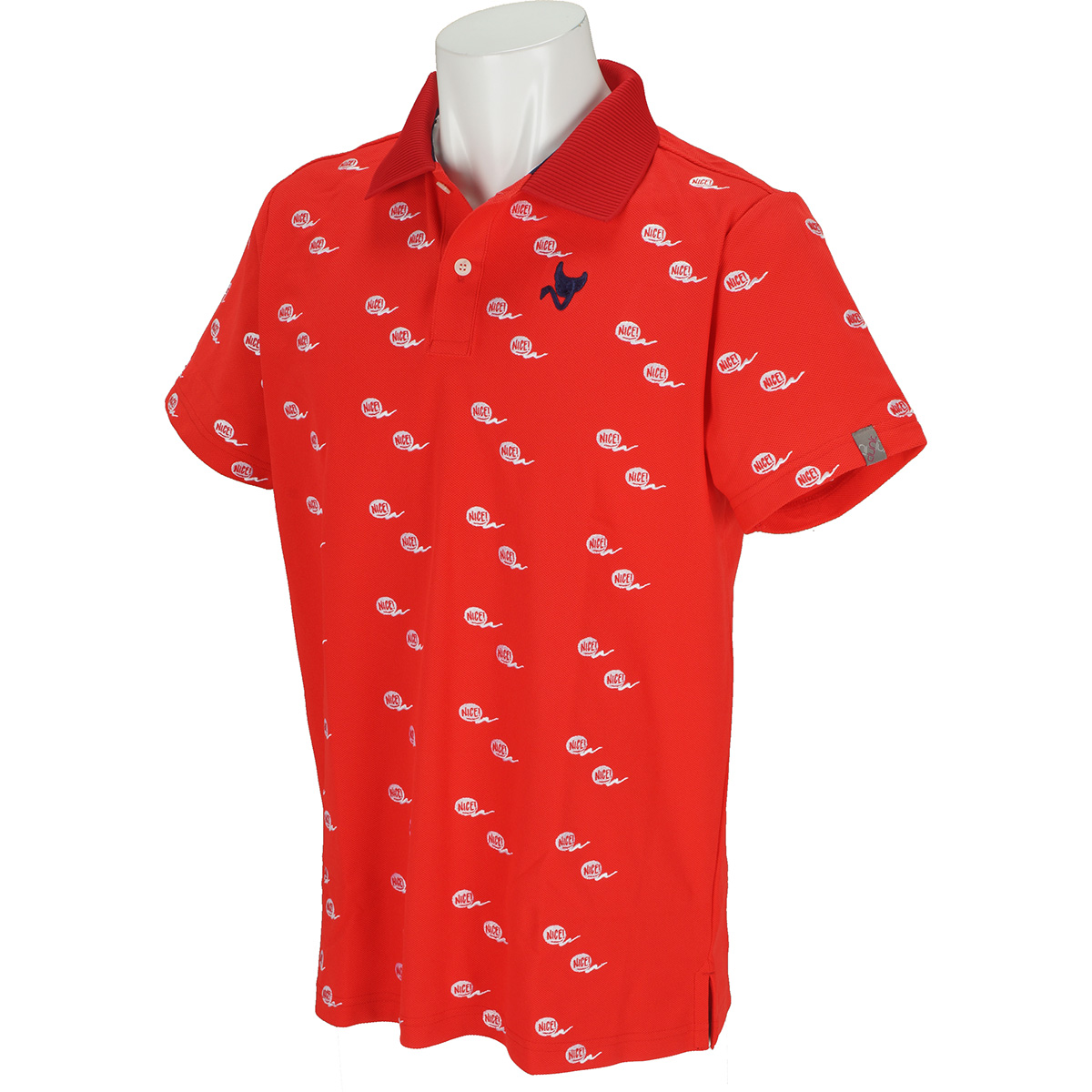 ストレッチ 鹿の子飛び柄 半袖ポロシャツ