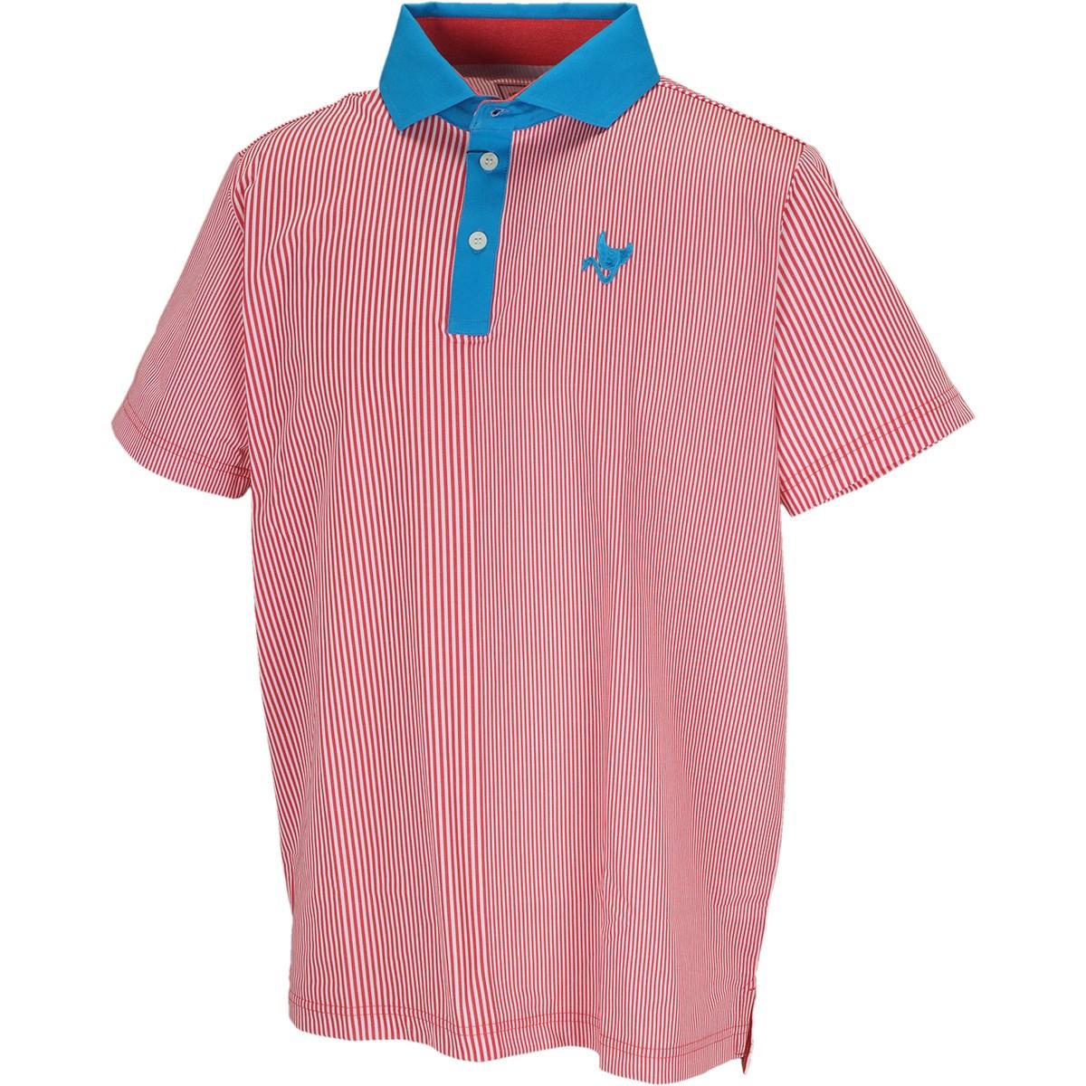 クランク(Clunk) ストレッチ マルチストライプ柄 半袖ポロシャツ