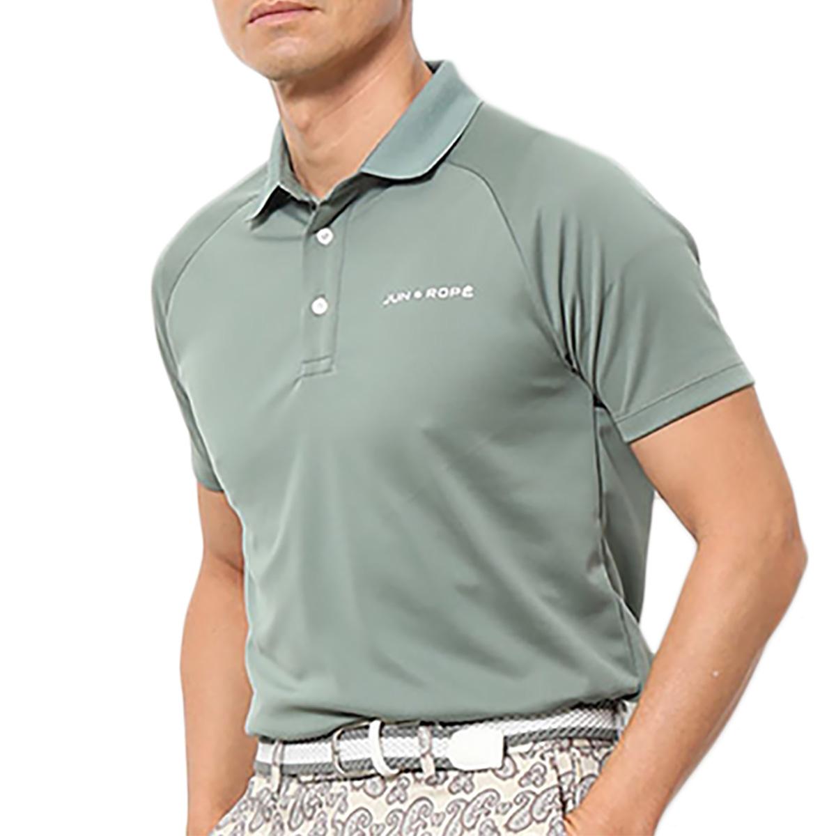 バックカラーブロック半袖ポロシャツ