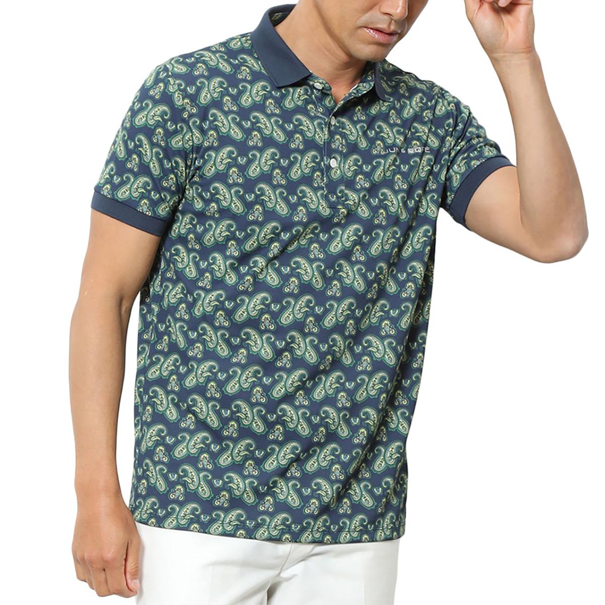 ペイズリー柄プリント半袖ポロシャツ