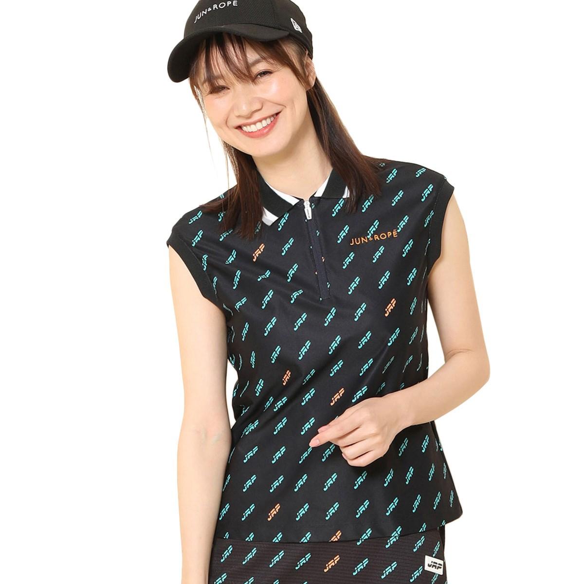 ジュン アンド ロペ JUN & ROPE モノグラム柄プリント フレンチスリーブ半袖ポロシャツ S ブラック 01 レディス