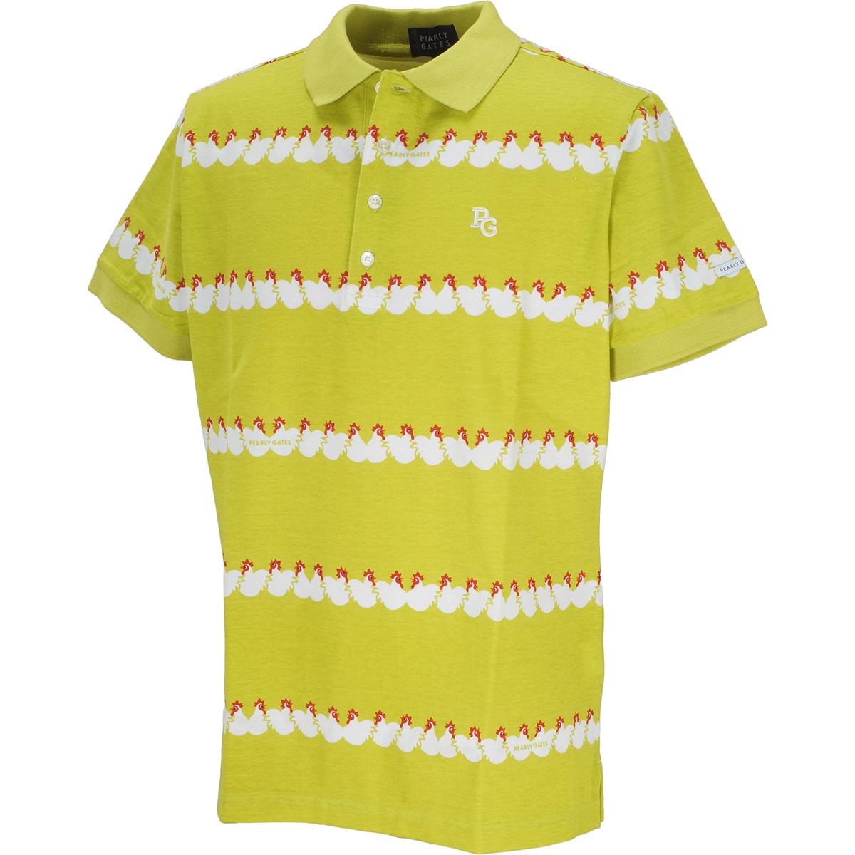 リップル天竺 にわとりプリント 半袖ポロシャツ