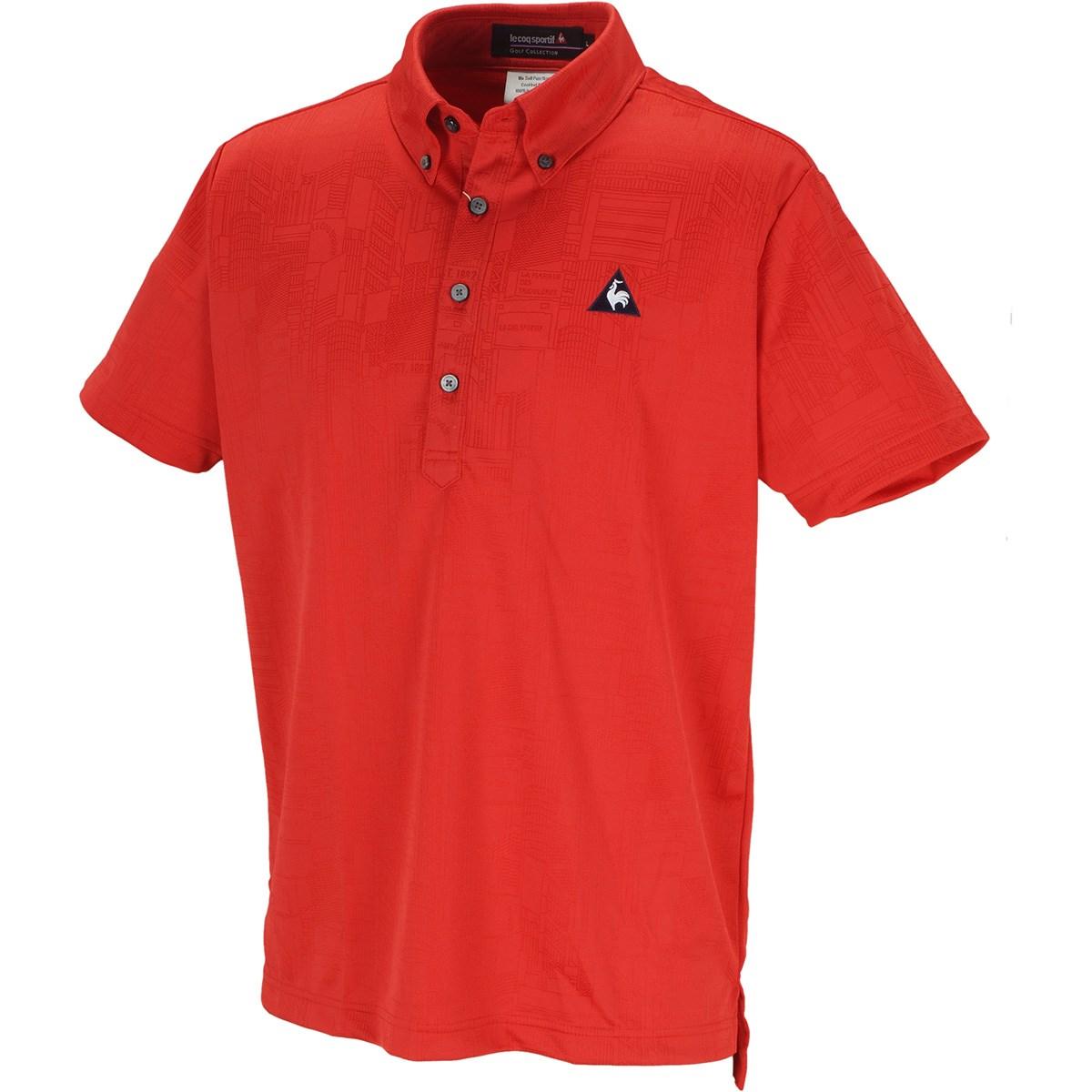 ルコックゴルフ Le coq sportif GOLF シティハイゲージジャガード 半袖ポロシャツ M レッド 00