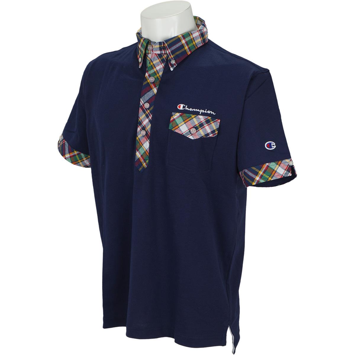ストレッチ ワイドシルエット アメリカンチェック襟 半袖ポロシャツ
