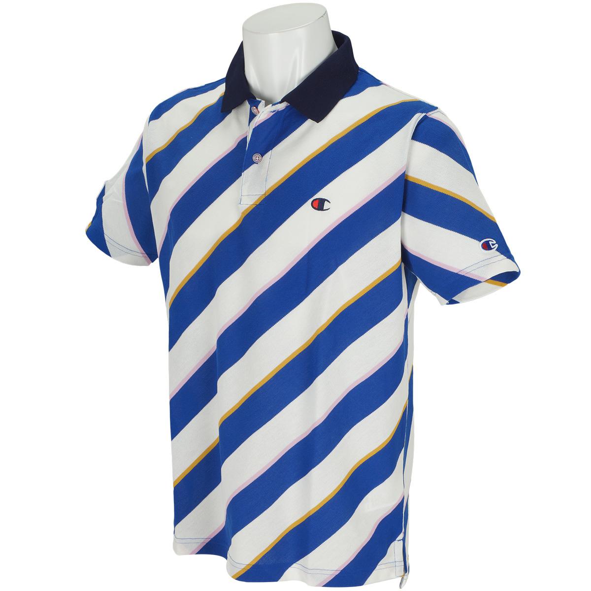 ストレッチ マルチストライプ 半袖ポロシャツ