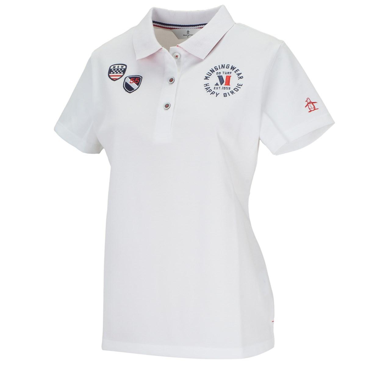 マンシングウェア Munsingwear ストレッチ サンスクリーン鹿の子エンブレムマーク半袖ポロシャツ M ホワイト 00 レディス