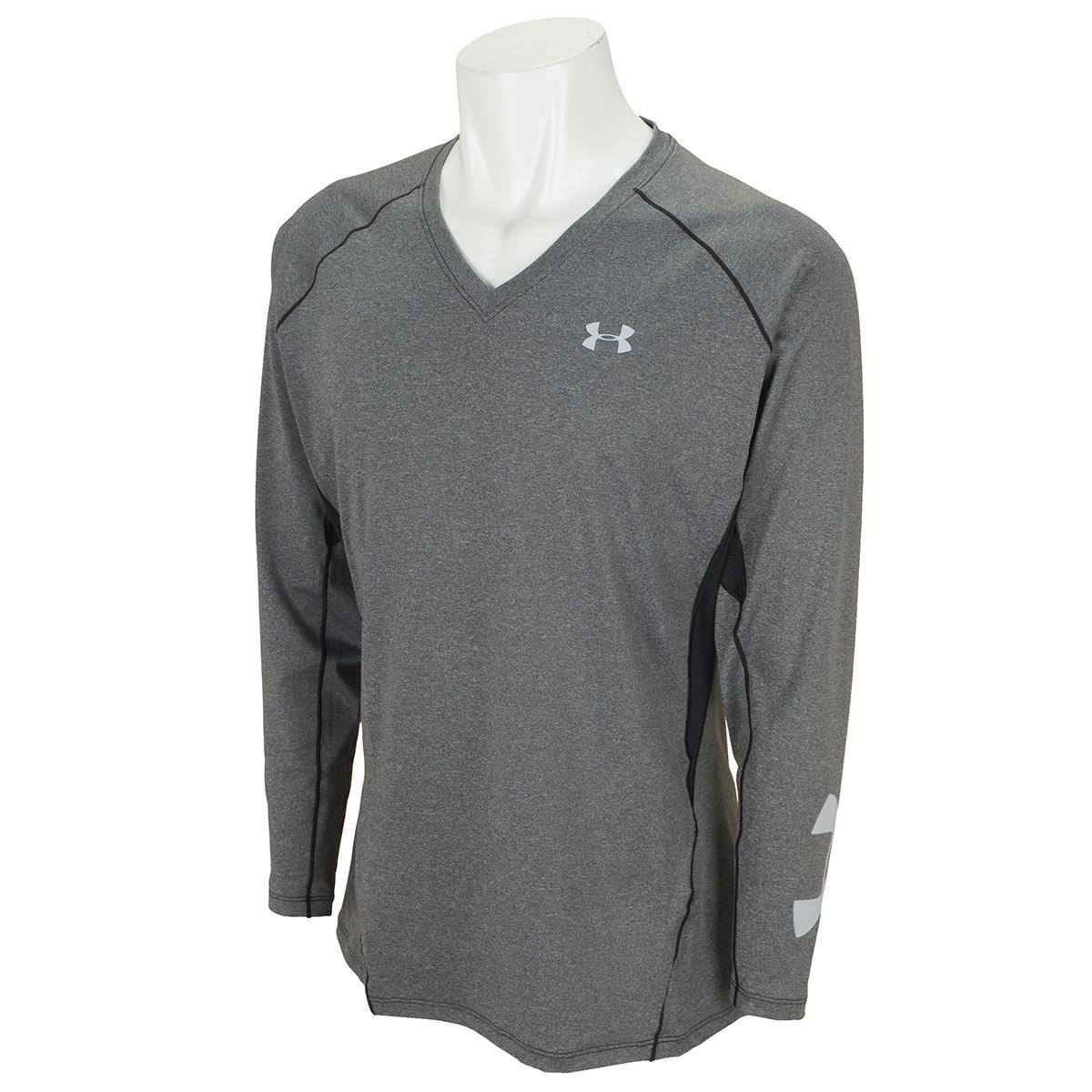 アンダーアーマー Under Armour UA HG フィット長袖Vネックヘザーシャツ LG Black/Mod Gray