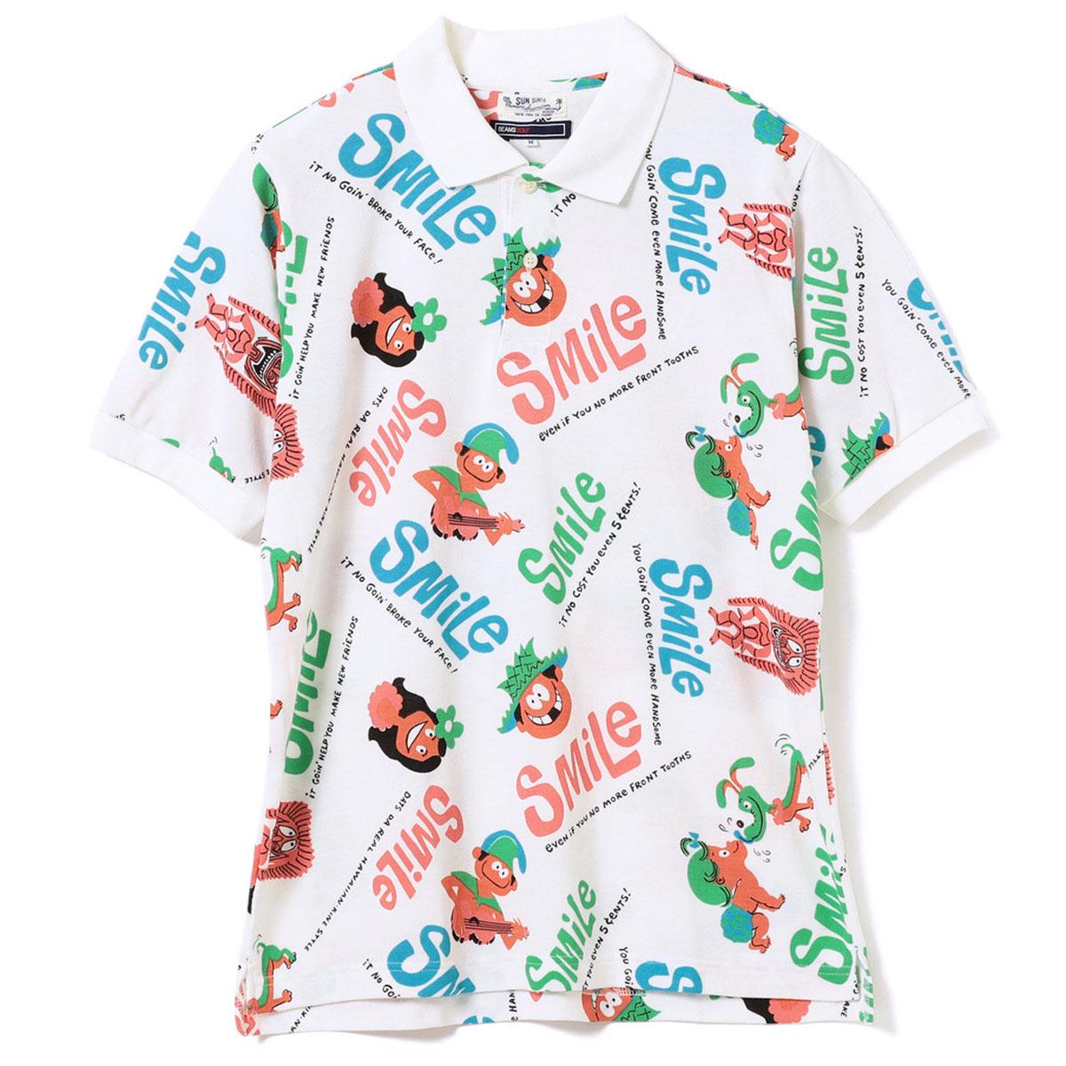 SUN SURF×BEAMS GOLF Smile ALOHA ポロシャツ