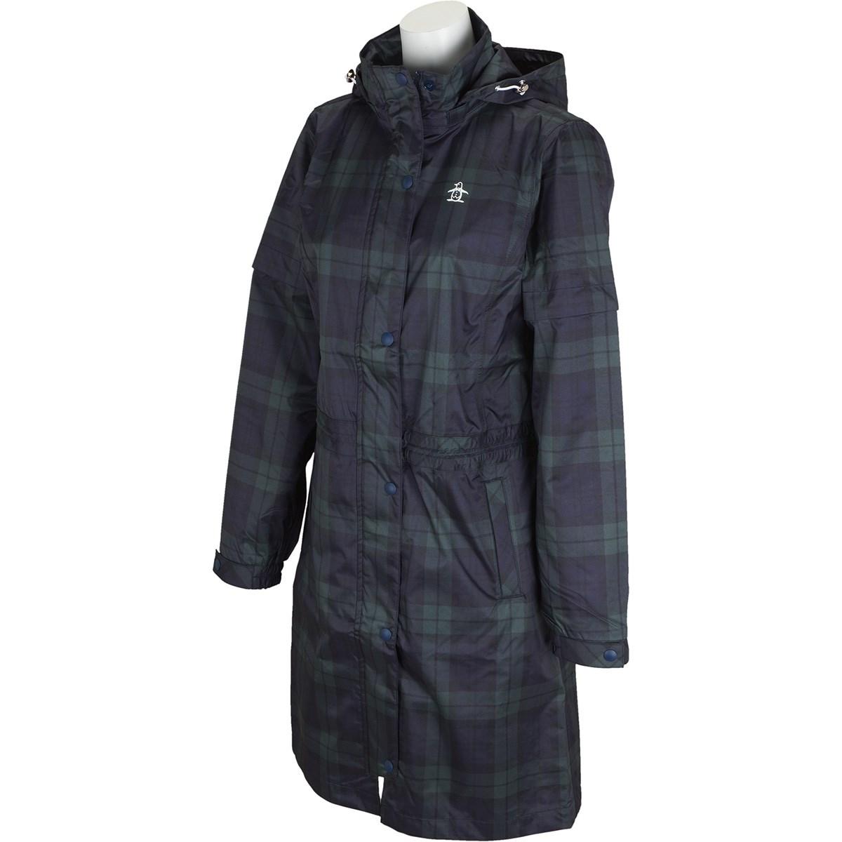 マンシングウェア Munsingwear 収納袋付きストレッチ ツイルプリント 2WAYレインワンピース S ブラック/グリーン レディス
