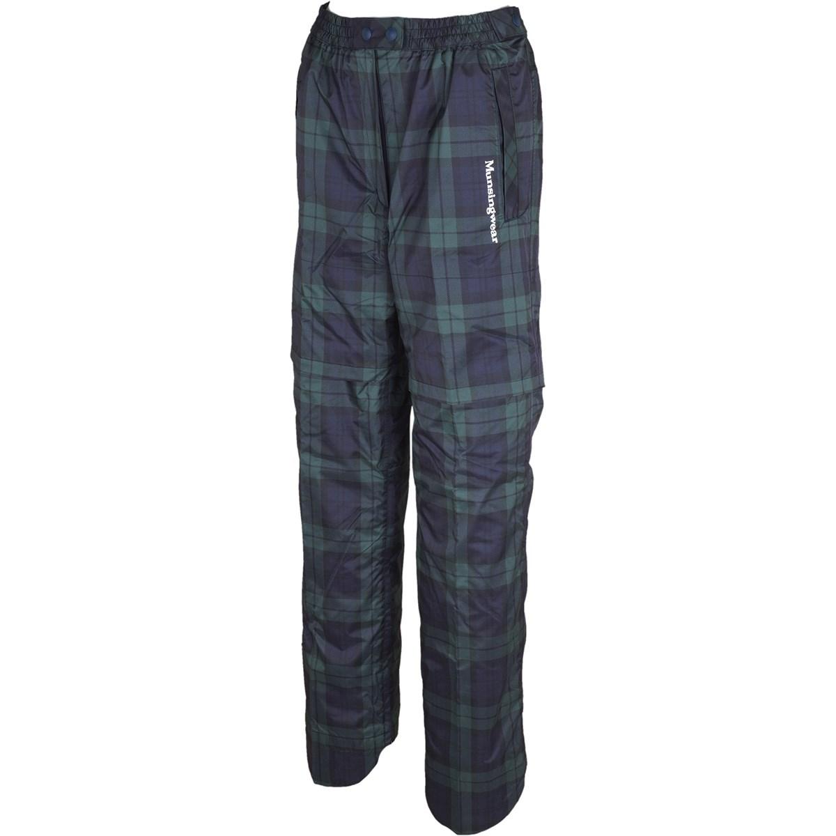 マンシングウェア Munsingwear ストレッチ ツイルプリント レインパンツ S ブラック/グリーン レディス
