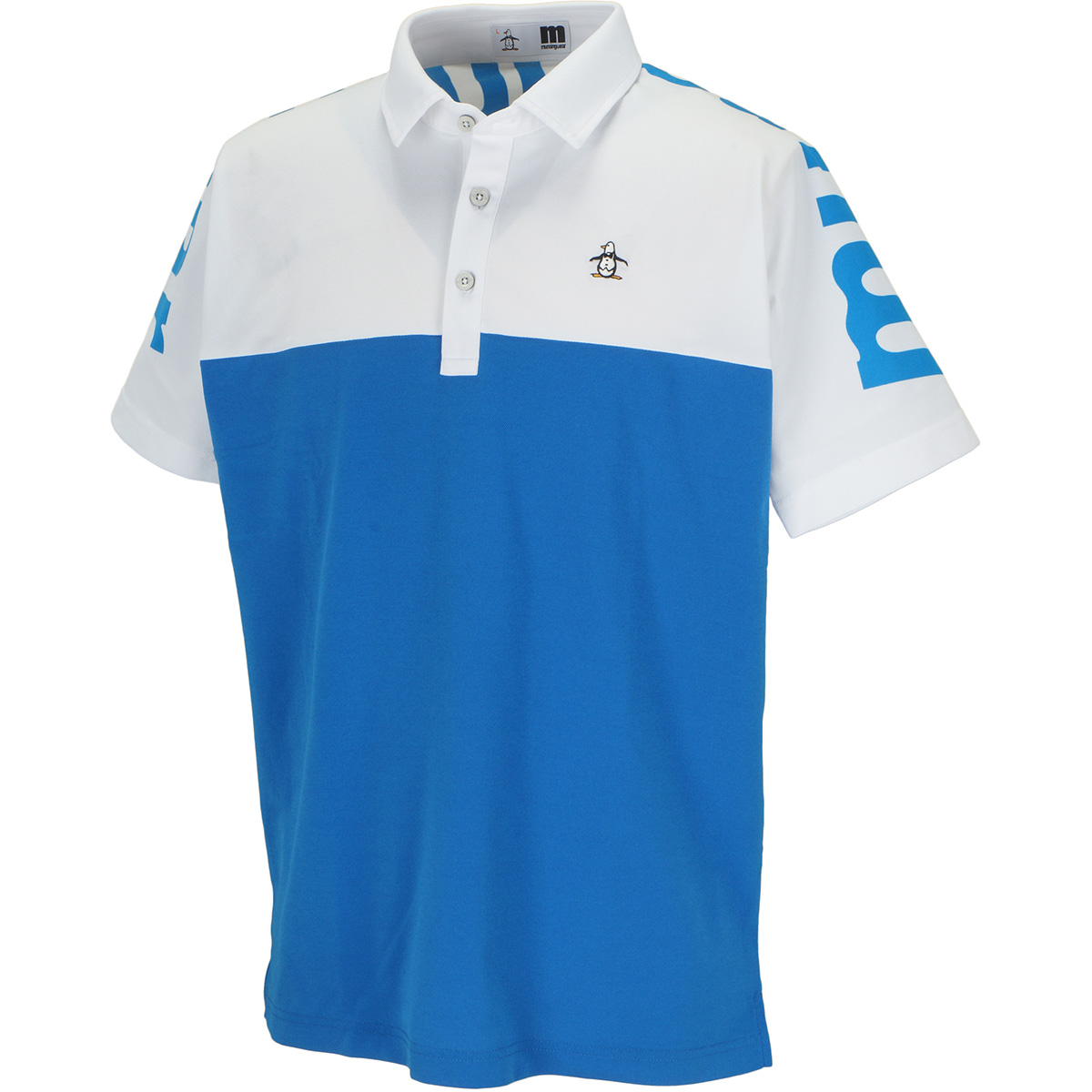 ENVOY SUNSCREEN ストレッチ ビッグロゴ切替半袖ポロシャツ