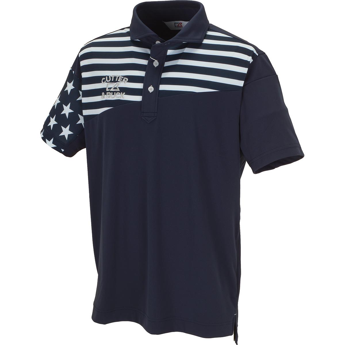 ストレッチ フラッグデザイン半袖ニットポロシャツ