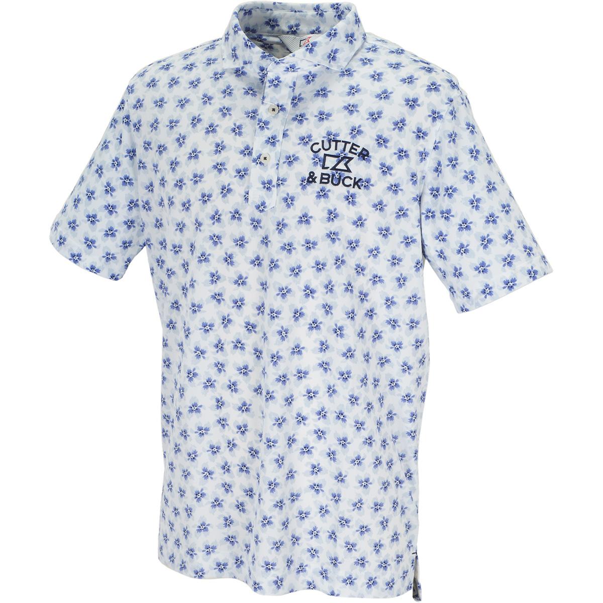 サクラプリントウインドカラー半袖ニットポロシャツ