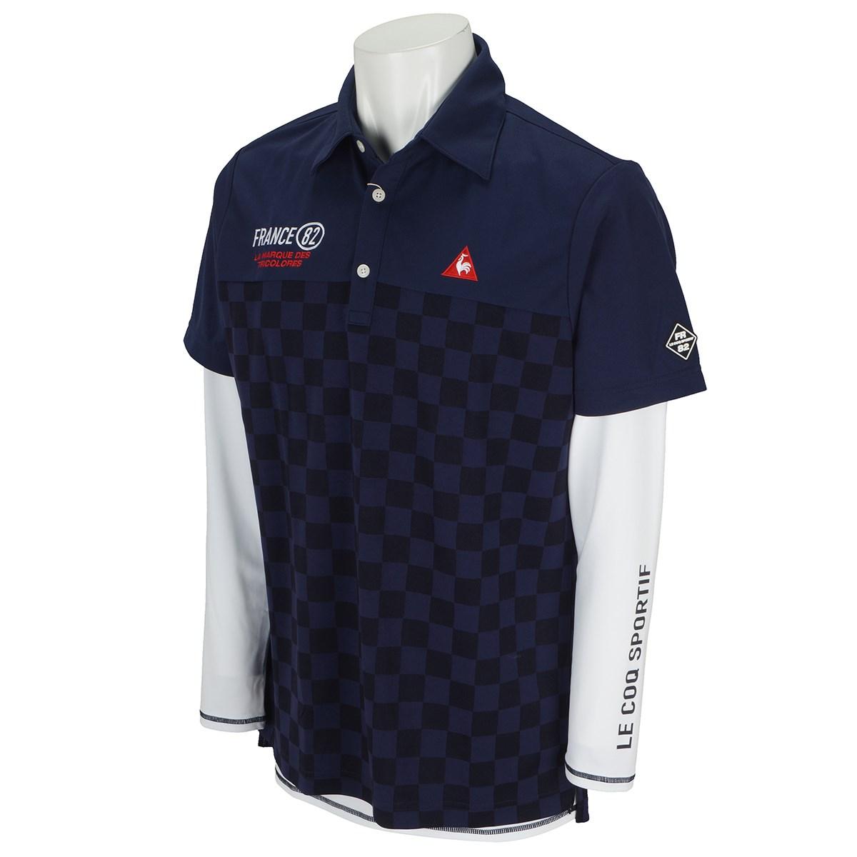 ルコックゴルフ 市松ジャガード切り替えレイヤードセット 半袖ポロシャツ