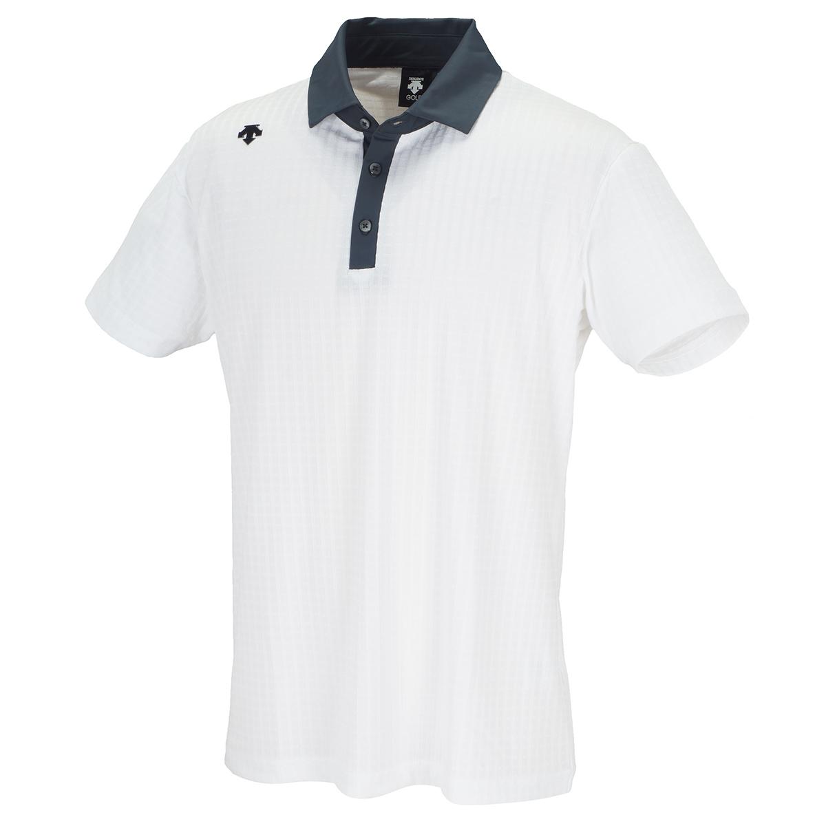 ストレッチ リンクス市松柄ジャカード 半袖ポロシャツ