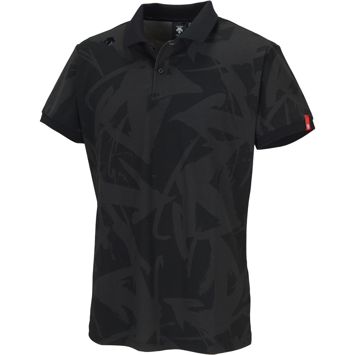 万美collection ストレッチ ソロテックス鹿の子パネルプリント 半袖ポロシャツ