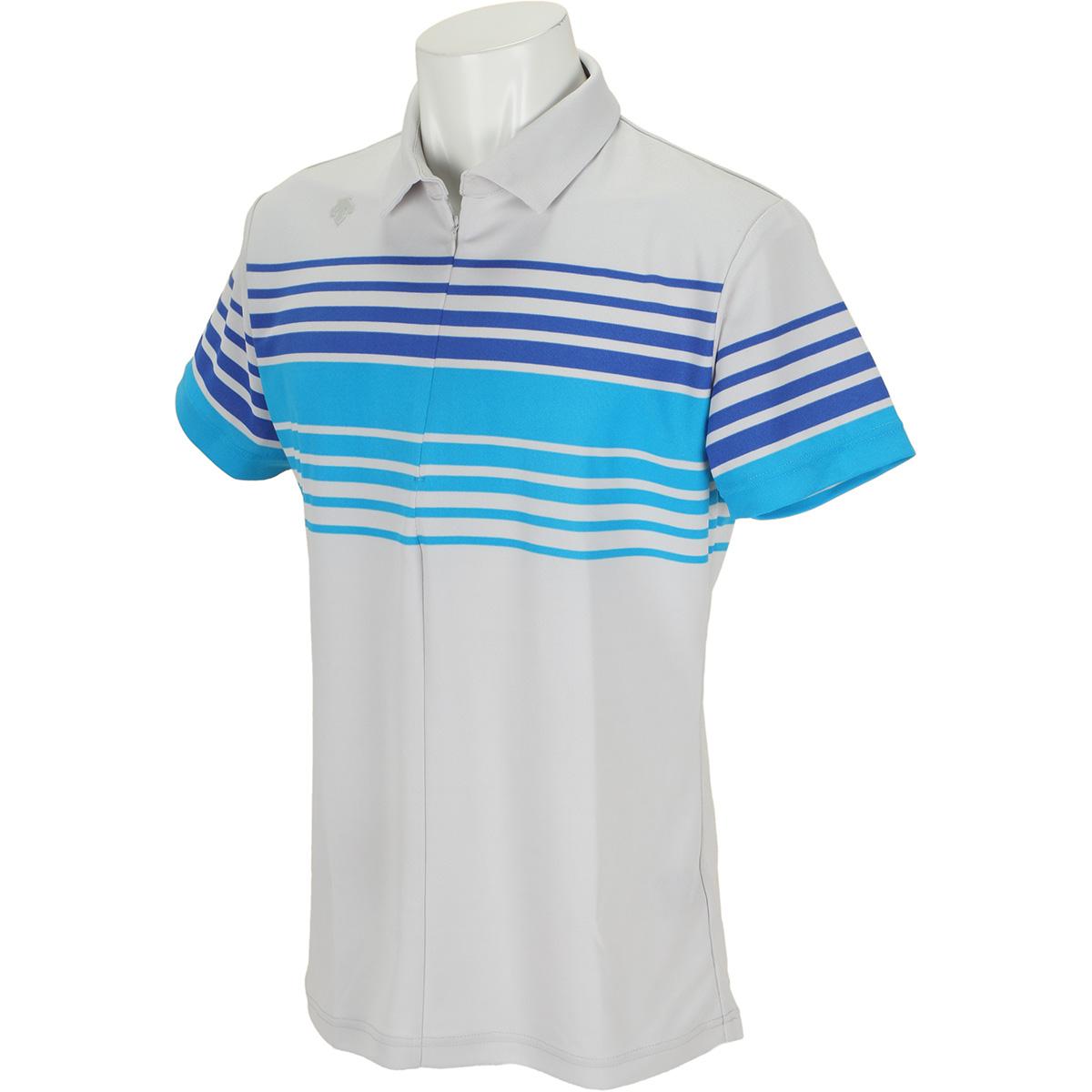 パネルボーダープリント 半袖ポロシャツ