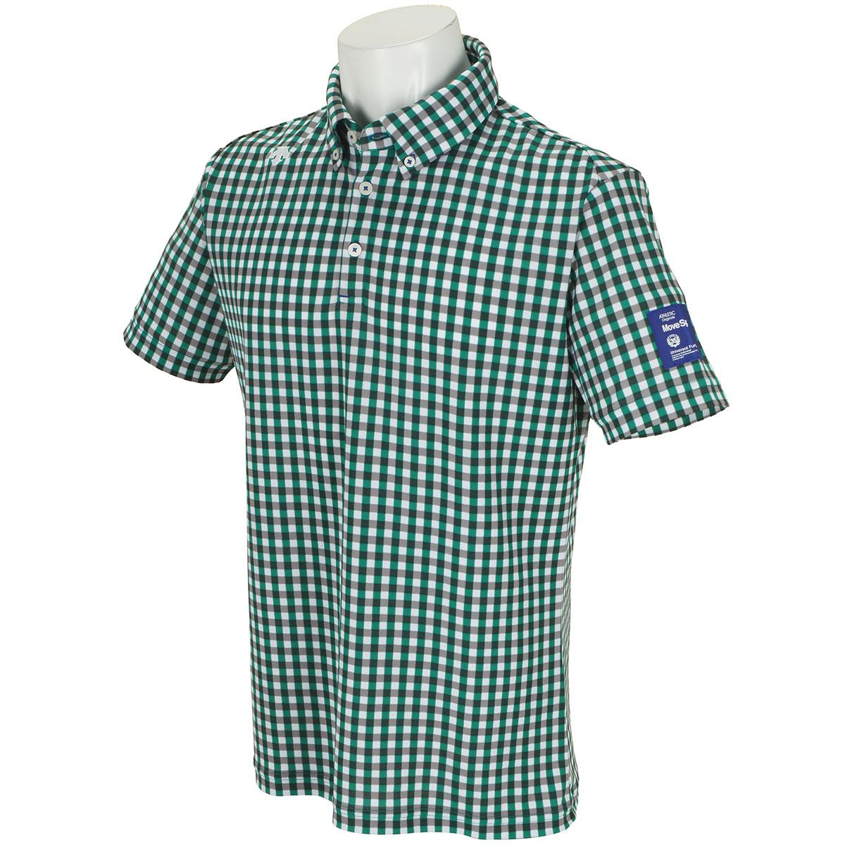 チェックプリント鹿の子 ボタンダウン半袖ポロシャツ