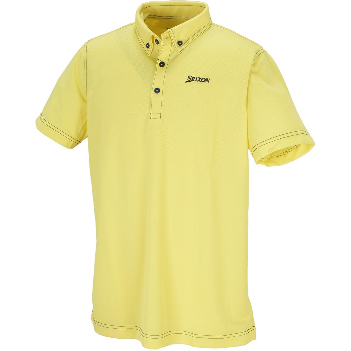 配色ステッチボタンダウン半袖ポロシャツ