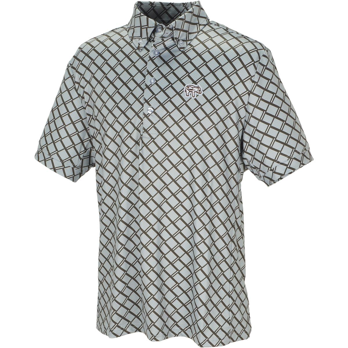 efficace homme ストレッチ 格子柄ボタンダウン半袖ポロシャツ