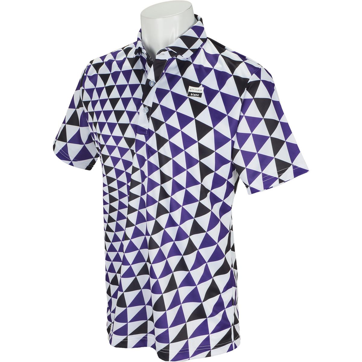 efficace blanc ストレッチ ビッグサークル柄半袖ポロシャツ