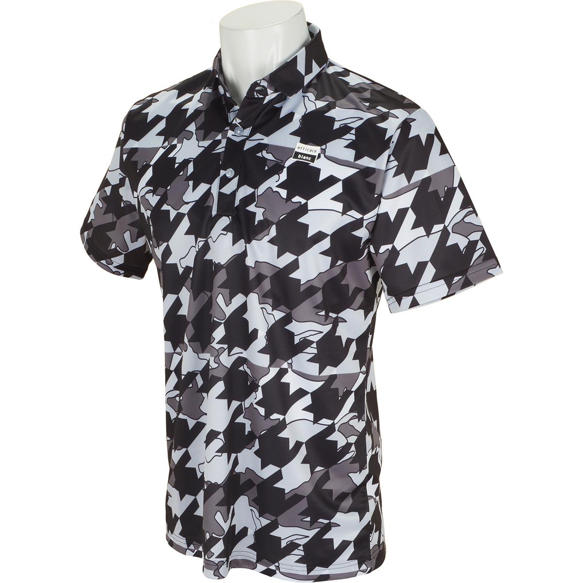 efficace blanc ストレッチ 千鳥柄半袖ポロシャツ