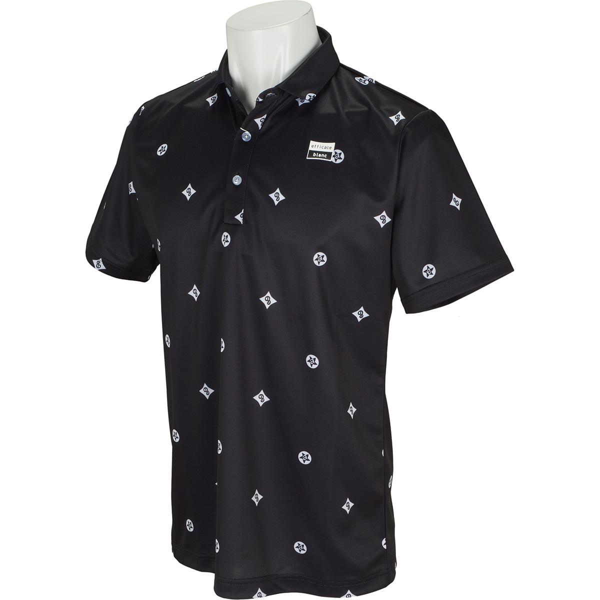 efficace blanc ストレッチ モノグラム半袖ポロシャツ