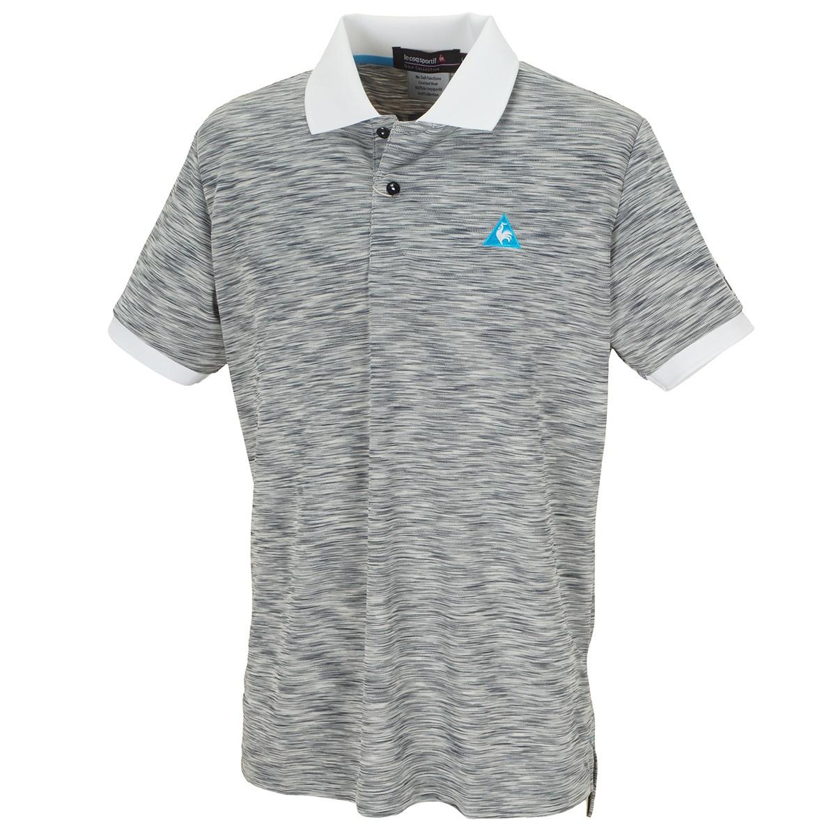 ルコックゴルフ マルチカラーメランジバックプリント半袖ポロシャツ