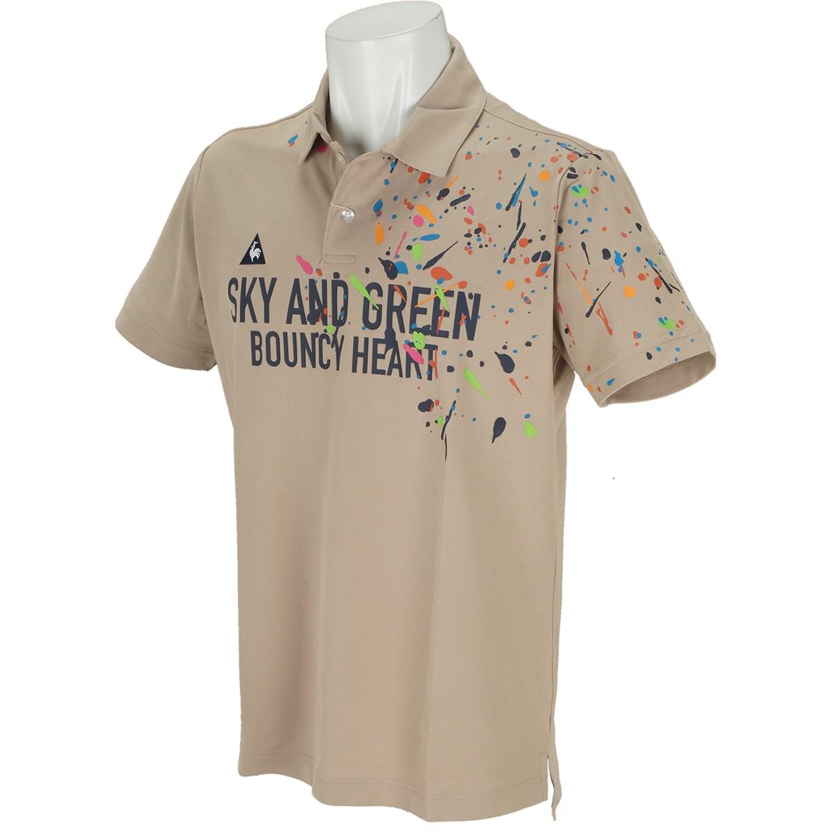 ルコックゴルフ Le coq sportif GOLF クーリストスプラッシュパネルプリント半袖ポロシャツ L ベージュ 00