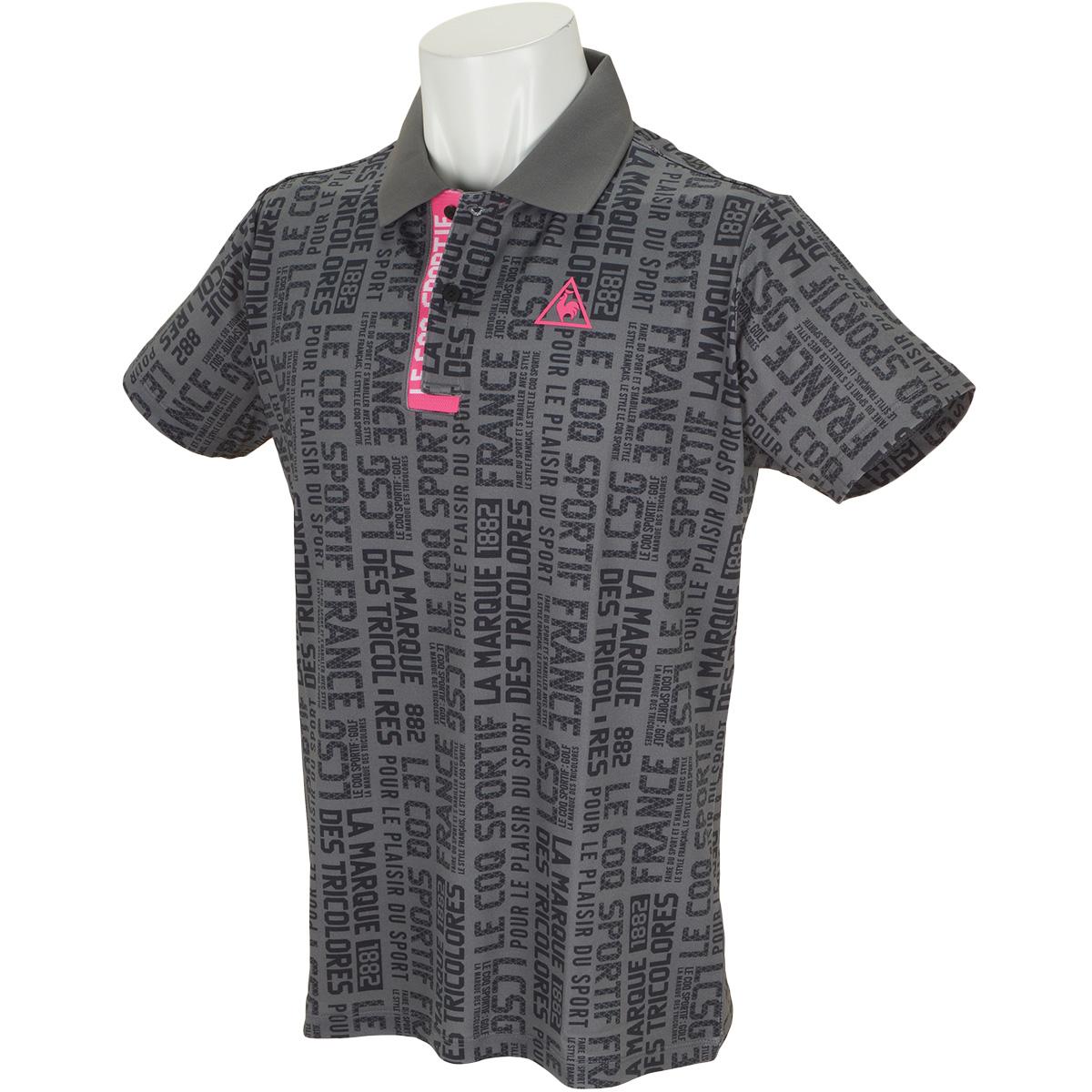 スローガンタイポプリント半袖ポロシャツ