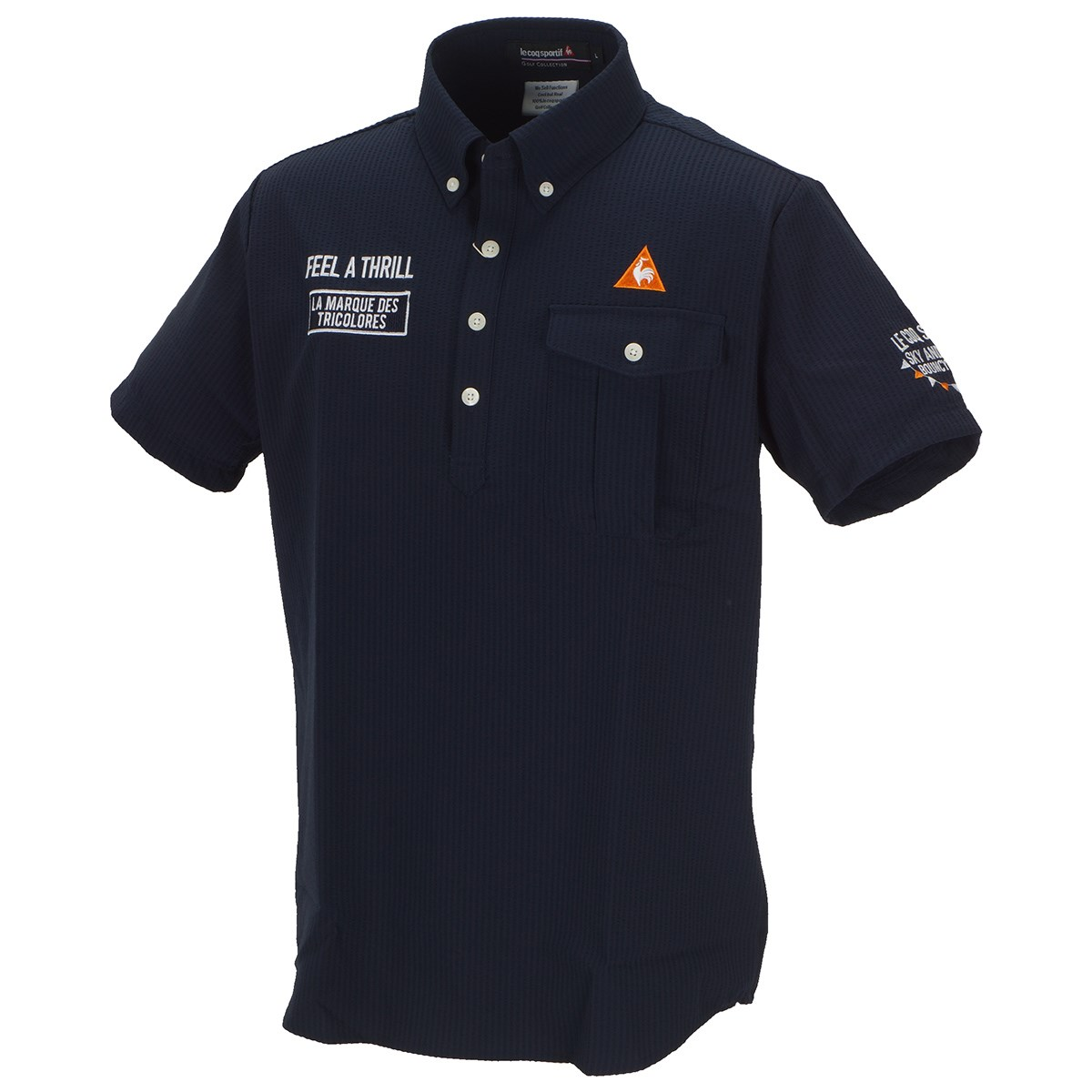 ルコックゴルフ ストレッチ プライムフレックス シャドーストライプ サッカー半袖ポロシャツ