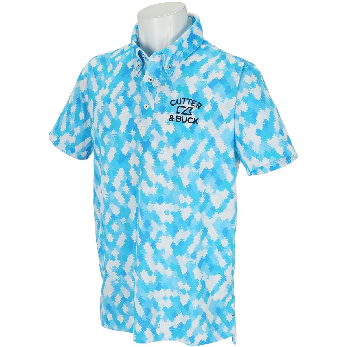 カッター&バック サンスクリーンモザイクプリント ボタンダウンカラー半袖ポロシャツ