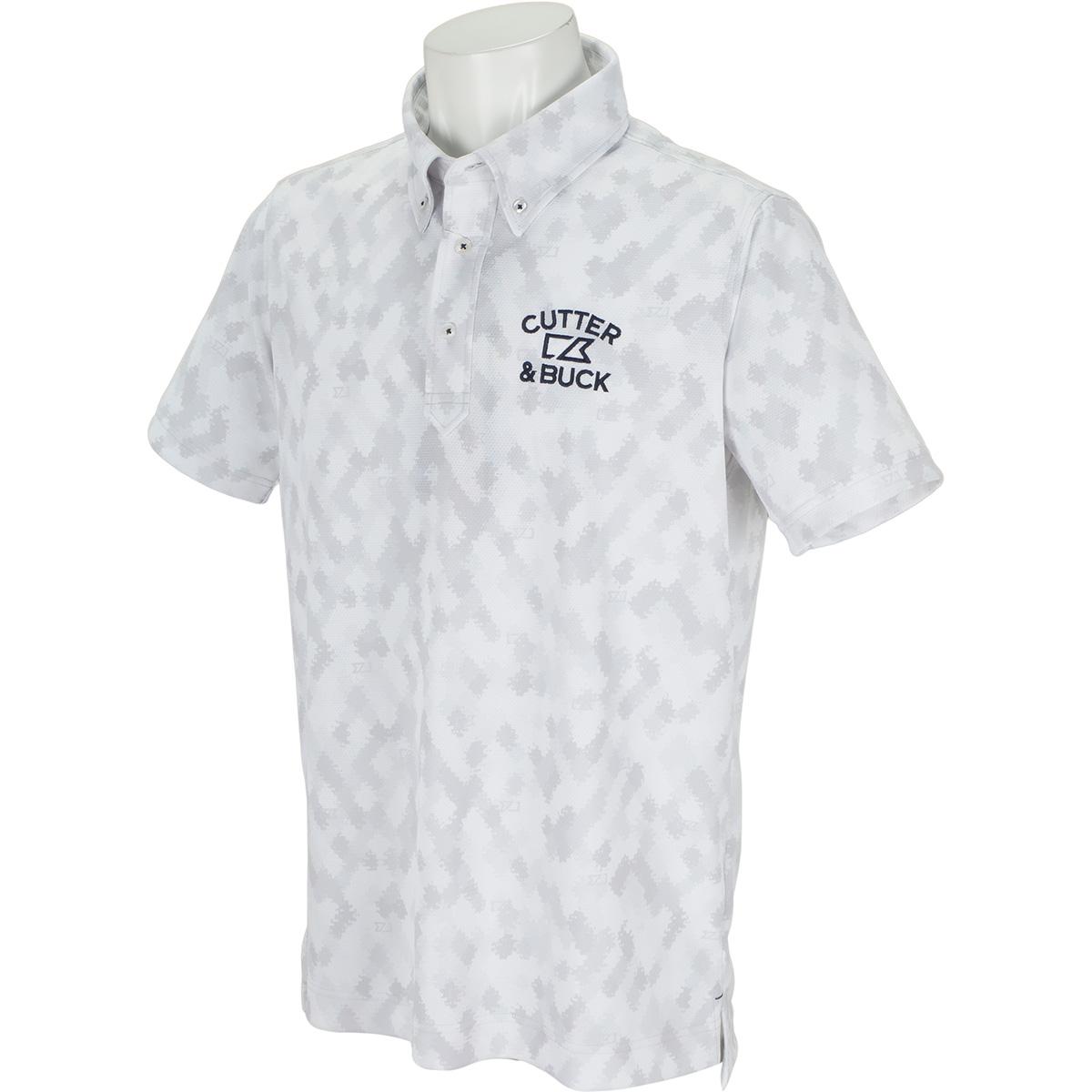 サンスクリーンモザイクプリント ボタンダウンカラー半袖ポロシャツ
