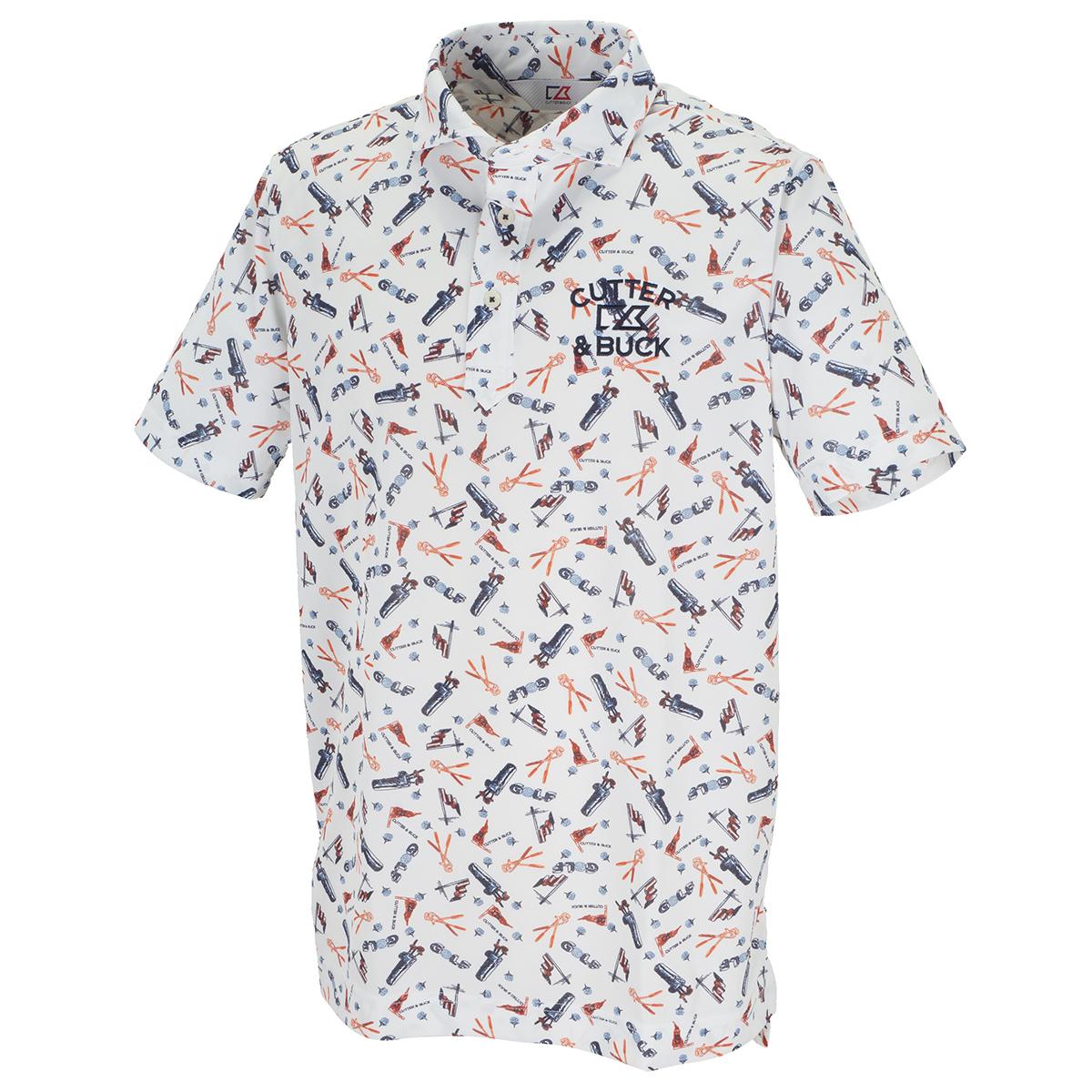 サンスクリーンゴルフプリントウインドカラー 半袖ニットポロシャツ