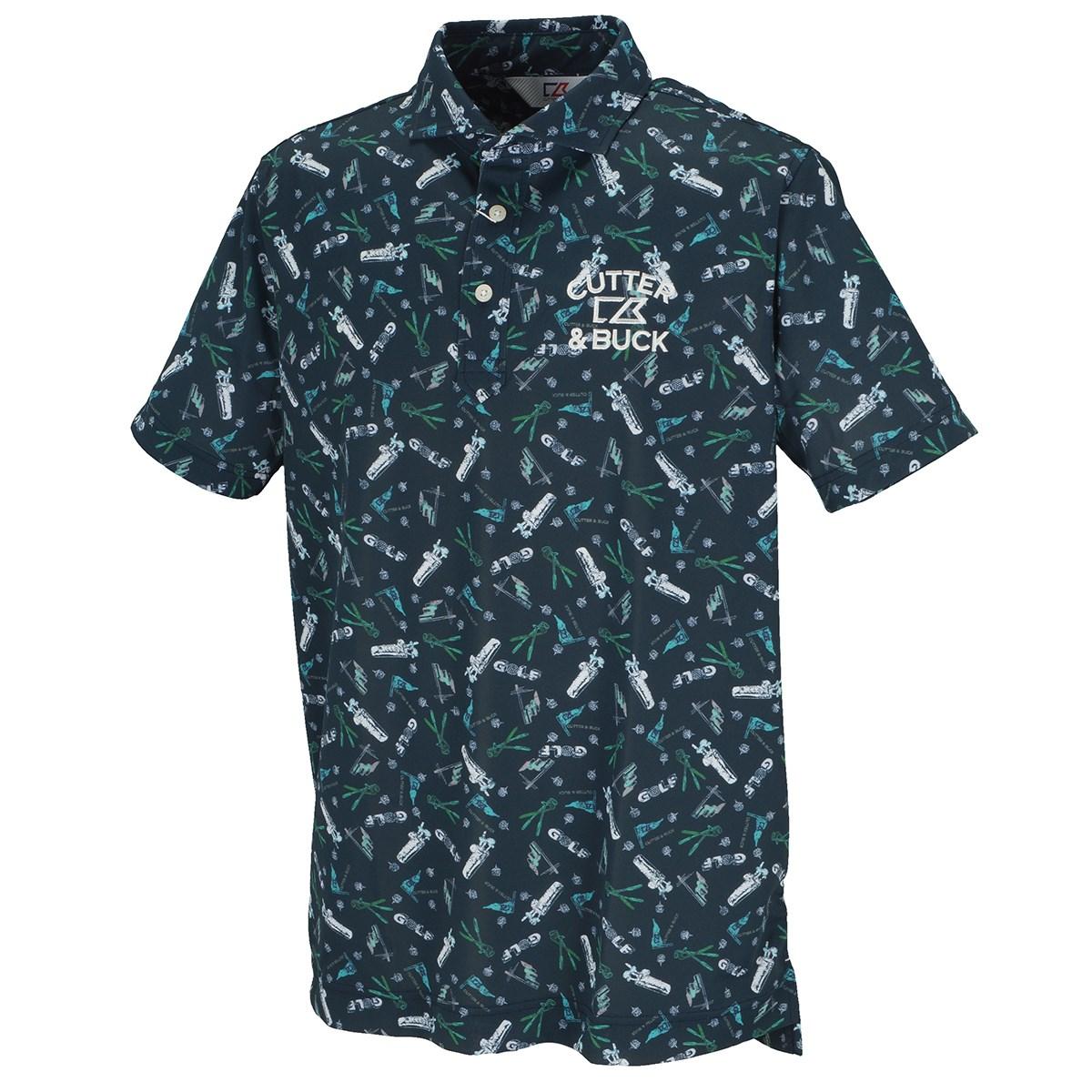 カッター&バック CUTTER&BUCK サンスクリーンゴルフプリントウインドカラー 半袖ニットポロシャツ M ネイビー 00