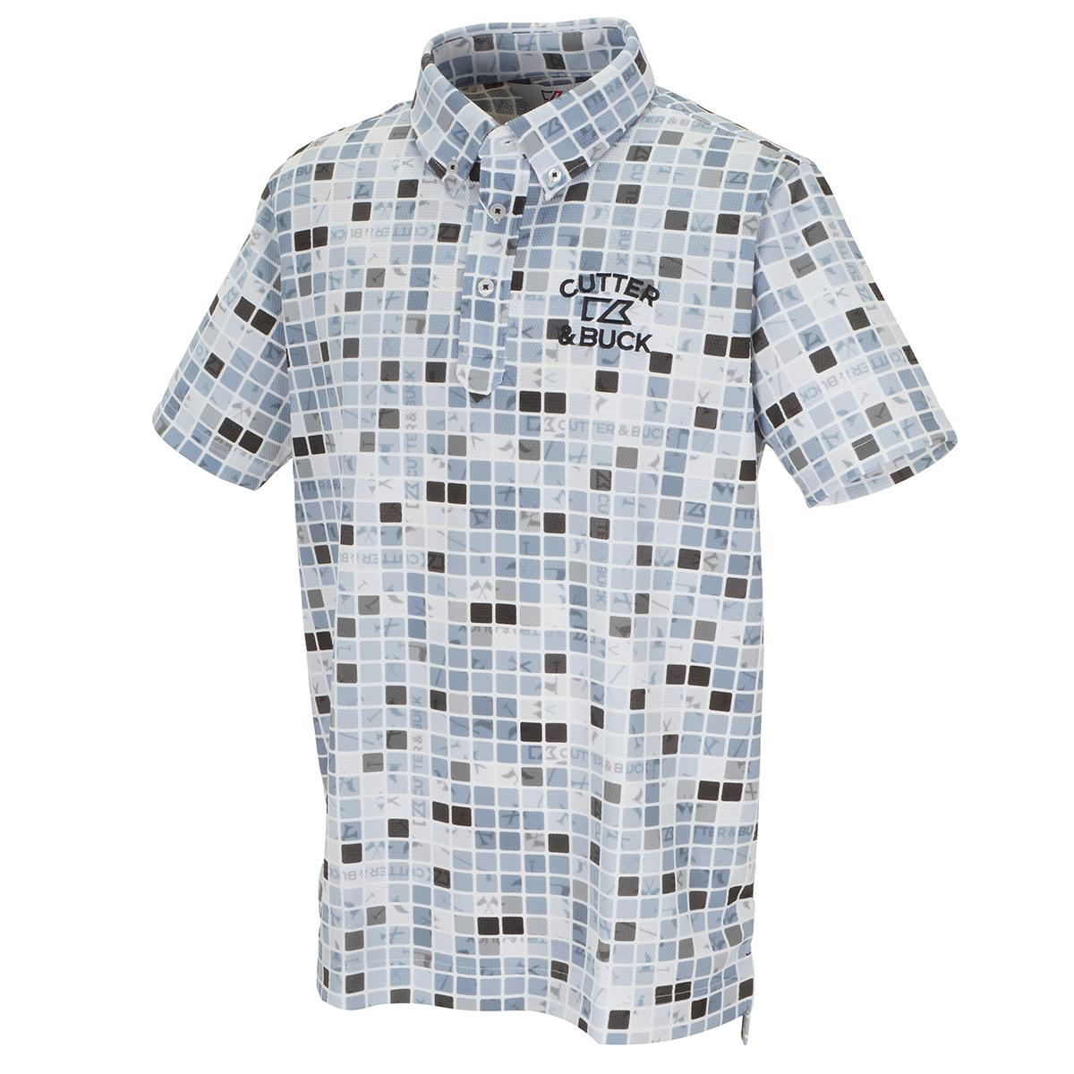 ブロックプリントボタンダウンカラー 半袖ポロシャツ