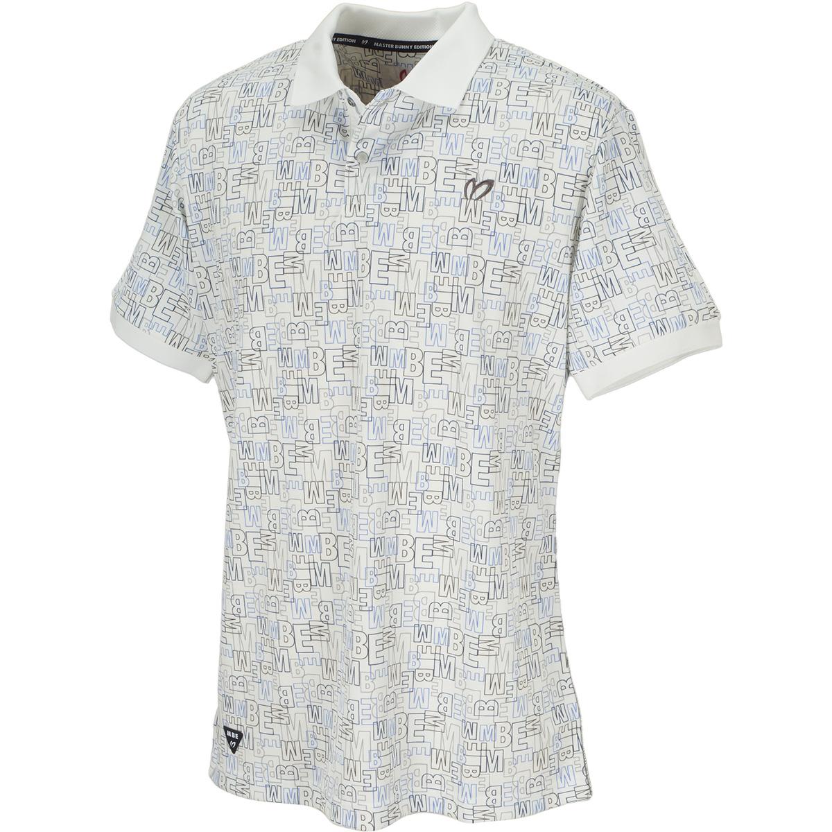 ブロックプリント ポリエステル鹿の子半袖ポロシャツ