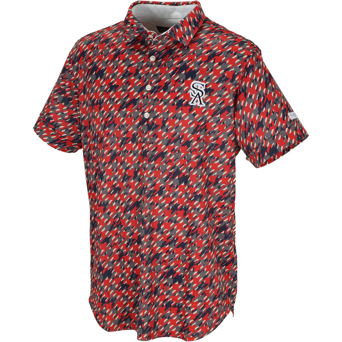 Uchimizu変形千鳥プリント半袖ポロシャツ