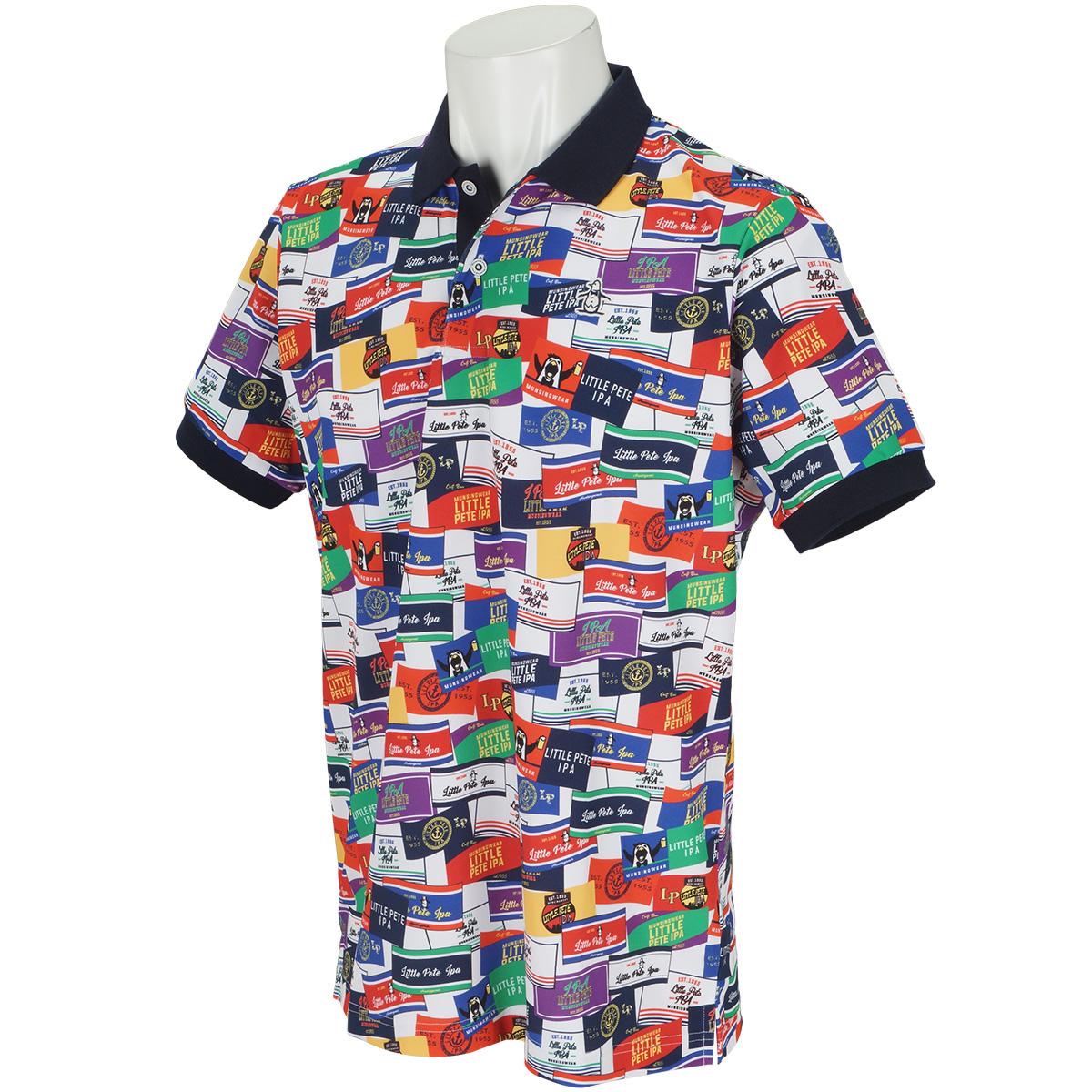 COOLISTラベルモチーフ総柄プリント半袖ポロシャツ