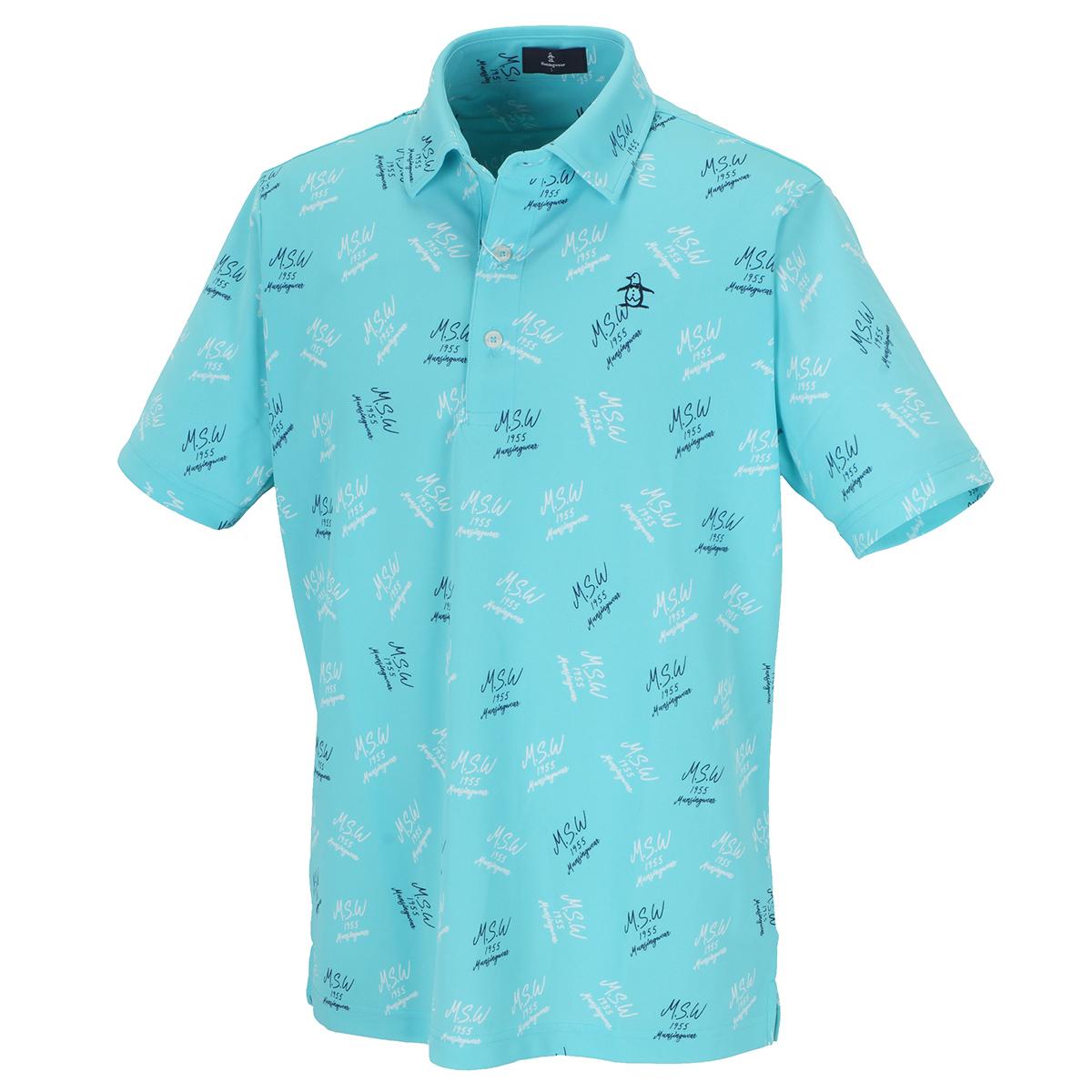 COOLIST総柄ロゴプリント半袖ポロシャツ