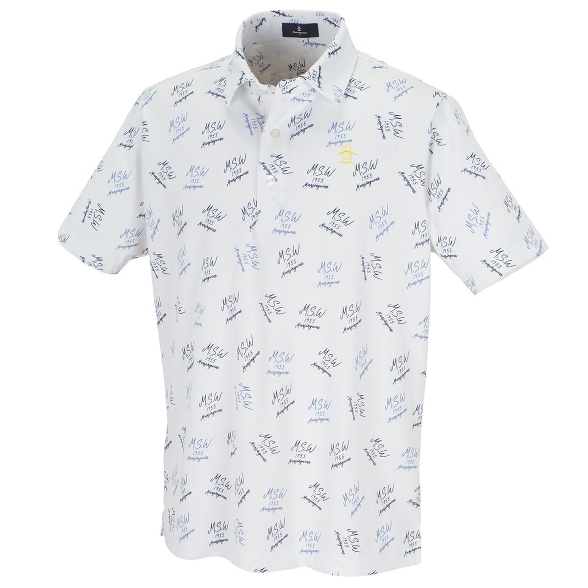 マンシングウェア Munsingwear COOLIST総柄ロゴプリント半袖ポロシャツ LL ホワイト 00
