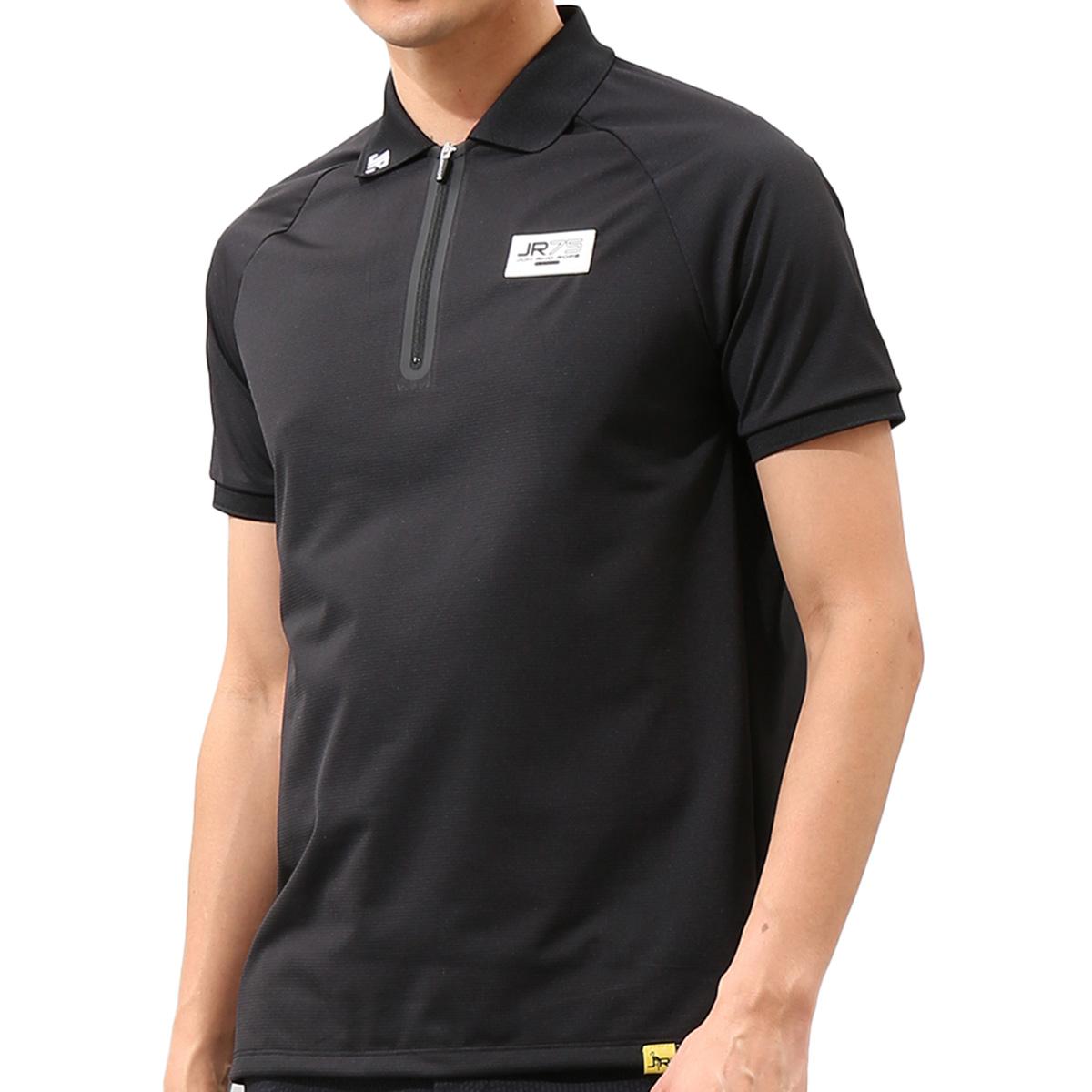 ラグランスリーブジップアップ半袖ポロシャツ