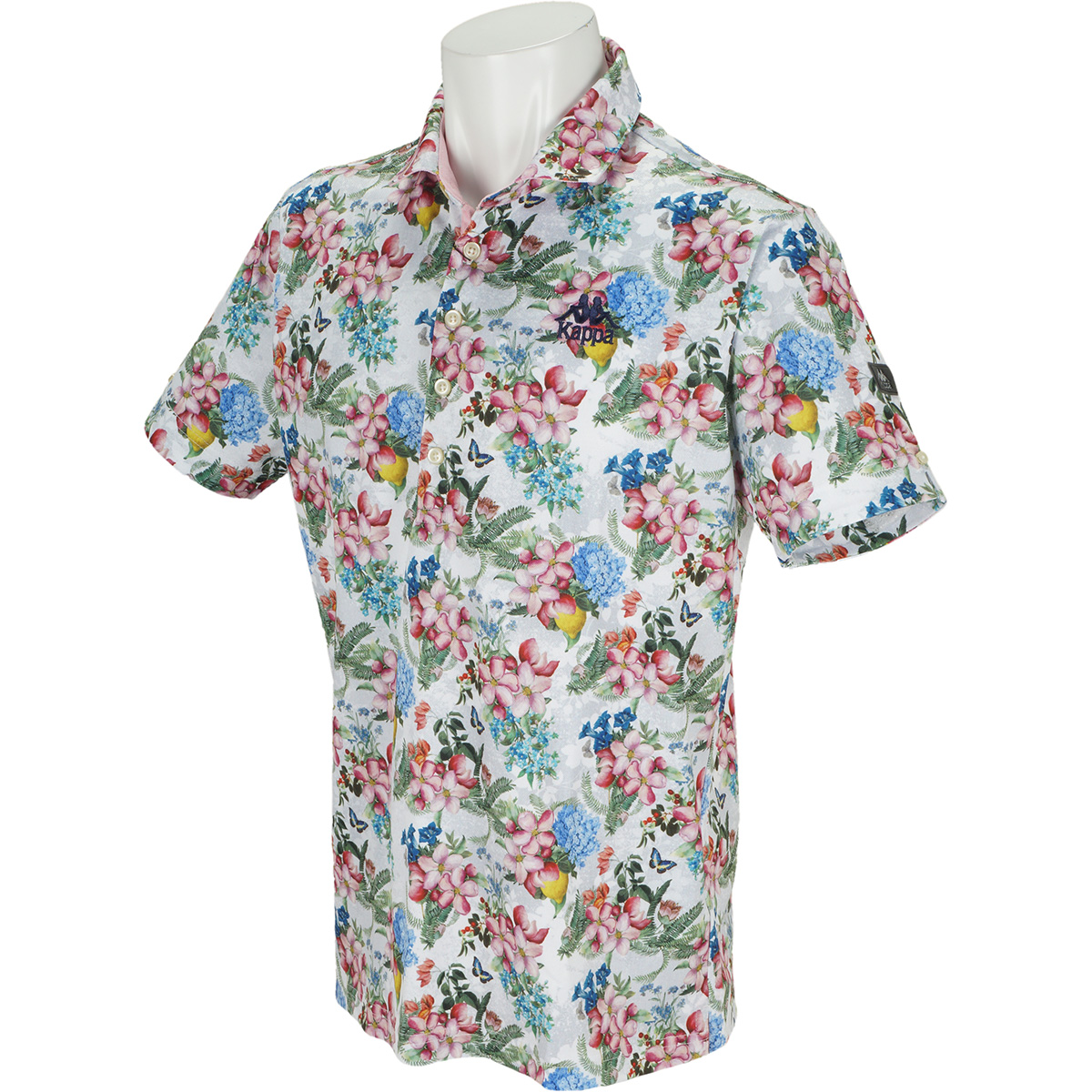 Kappa GOLF 花柄プリントストレッチ半袖ポロシャツ