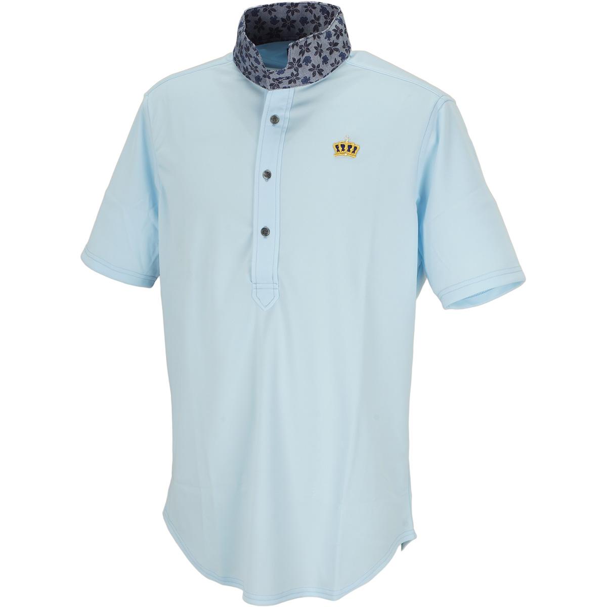 小花柄ウィングカラー半袖ポロシャツ
