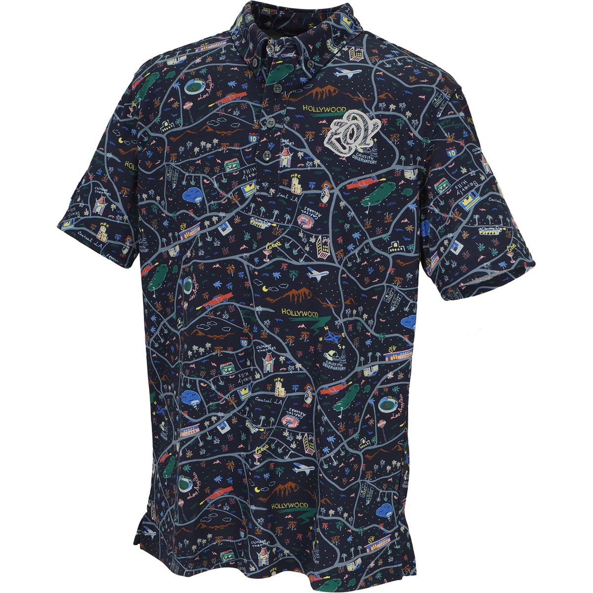 ZOY マッププリント 半袖ポロシャツ