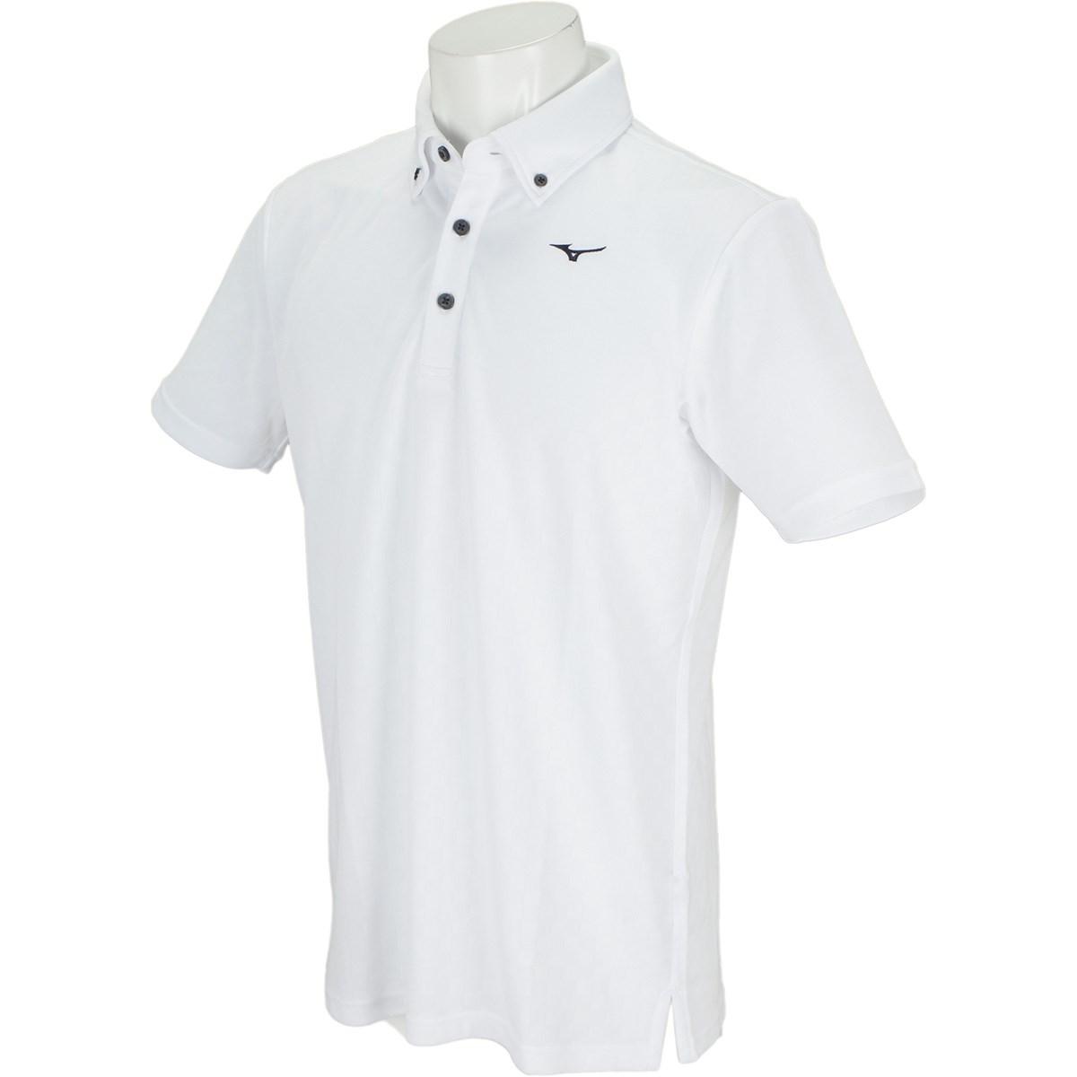 ミズノ MIZUNO GDO×MIZUNO 格子柄半袖ボタンダウンシャツ M ホワイト 01