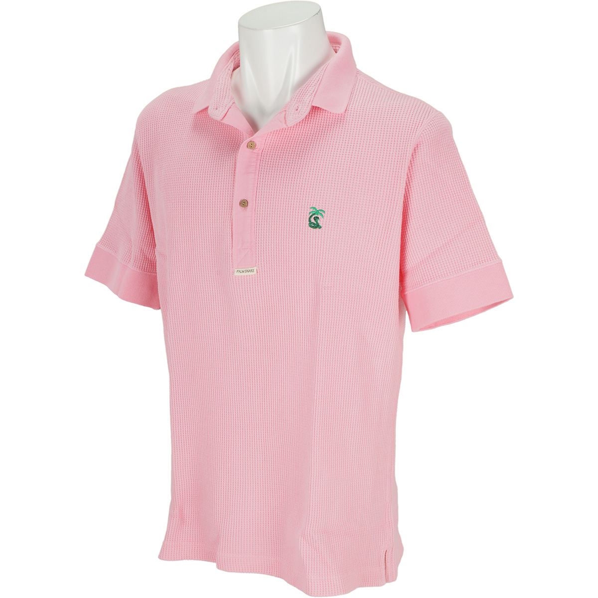 ワッフルヘンリー半袖ポロシャツ