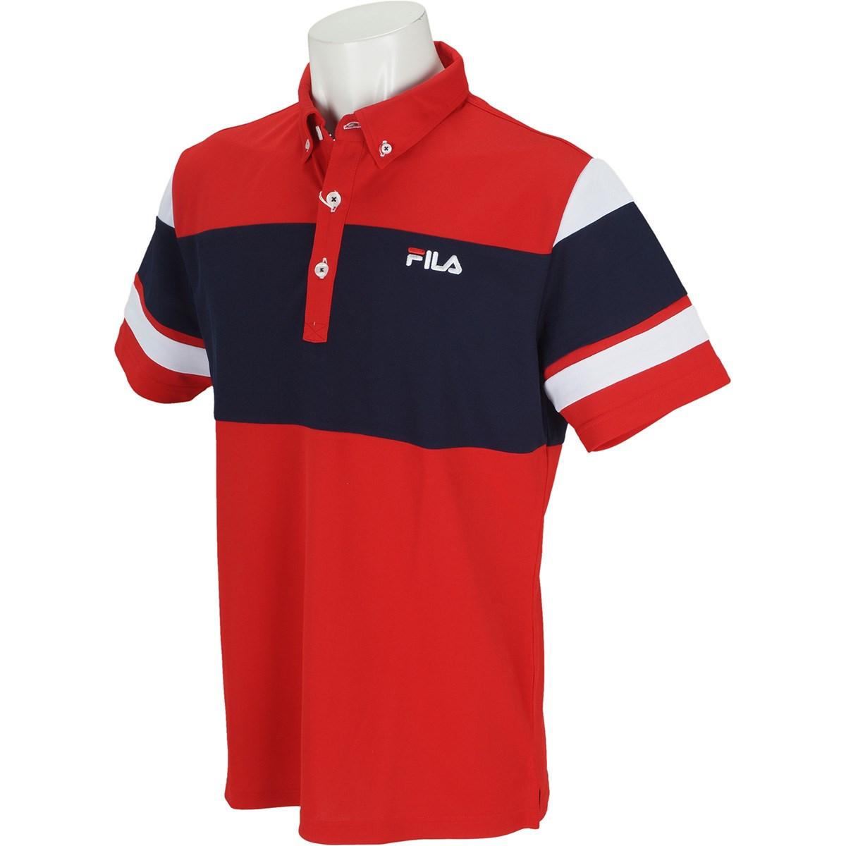 フィラ FILA 半袖ボタンダウンポロシャツ L レッド